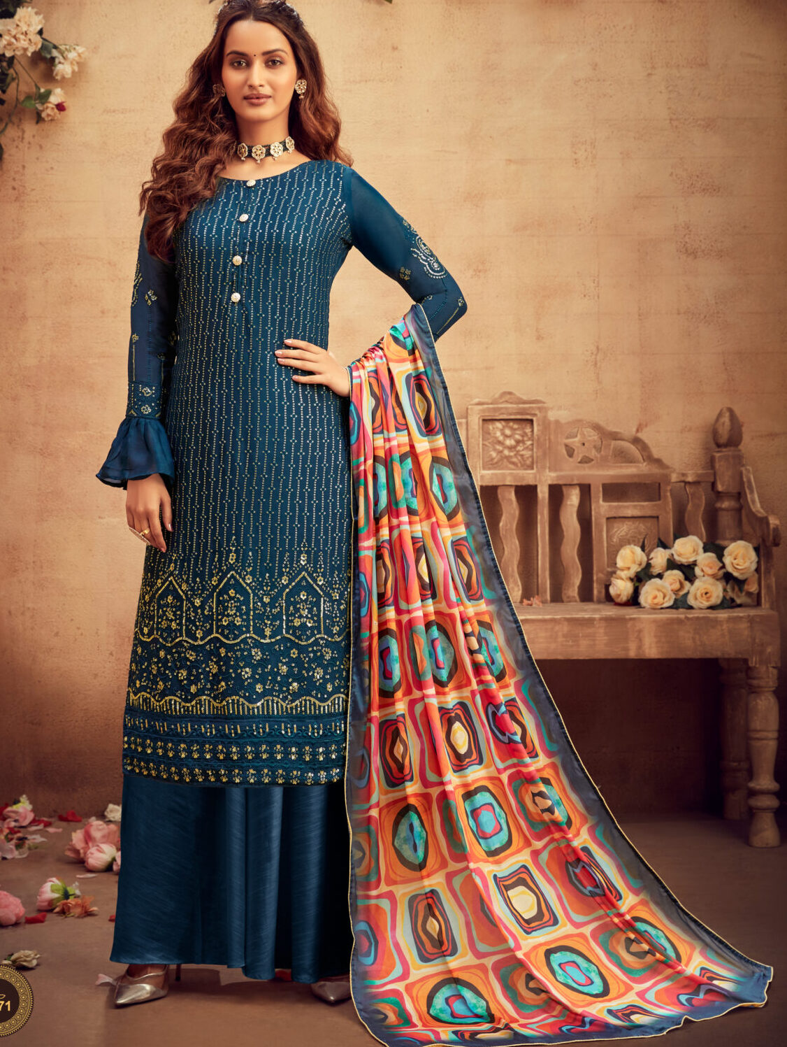 Heavy Embroidered Navy Blue Colour Salwar Suit with Palazzo Digital Print Dupatta