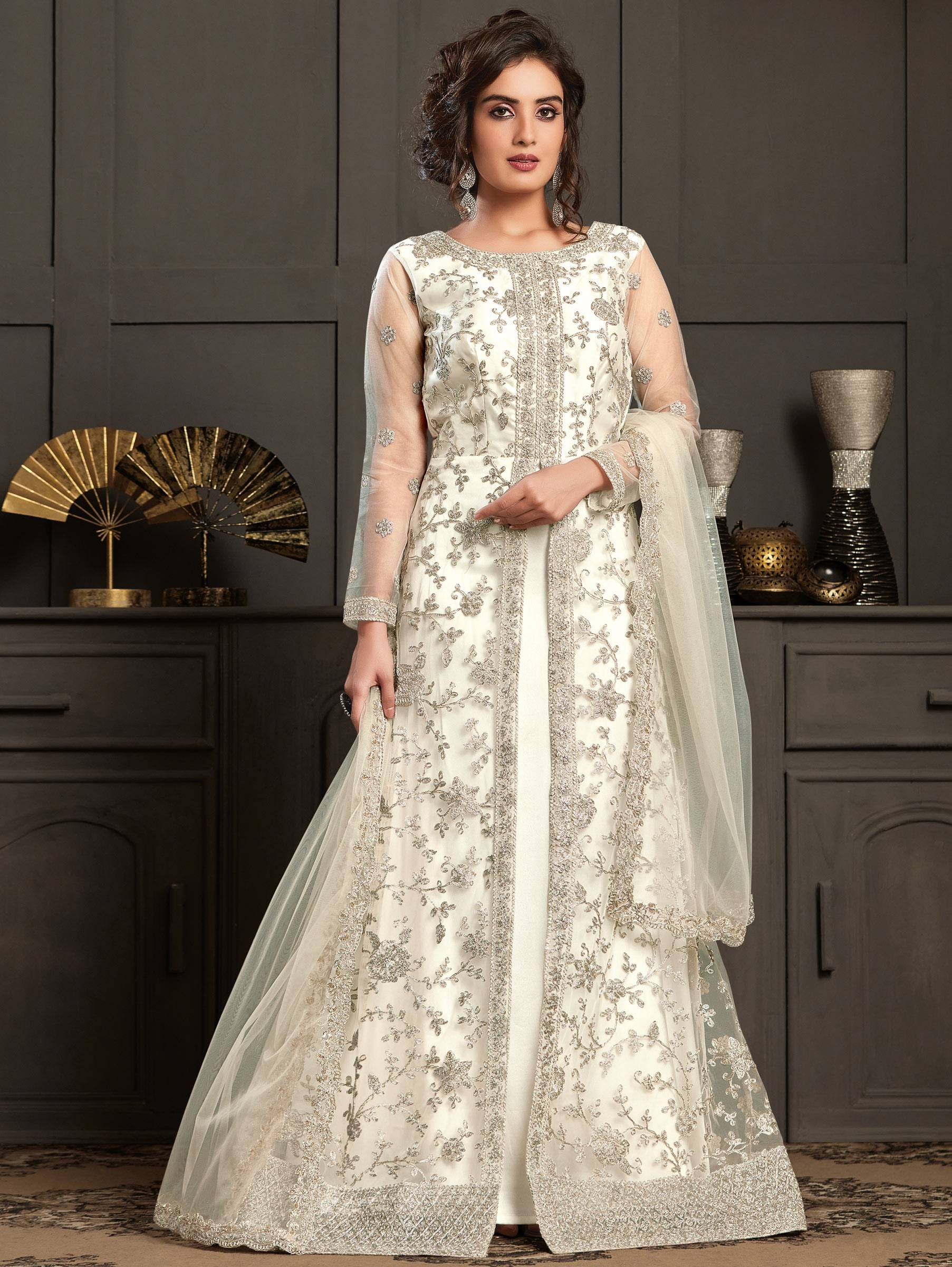 Heavy Embroidered Cream Colour Anarkali Dress Front Slit Open