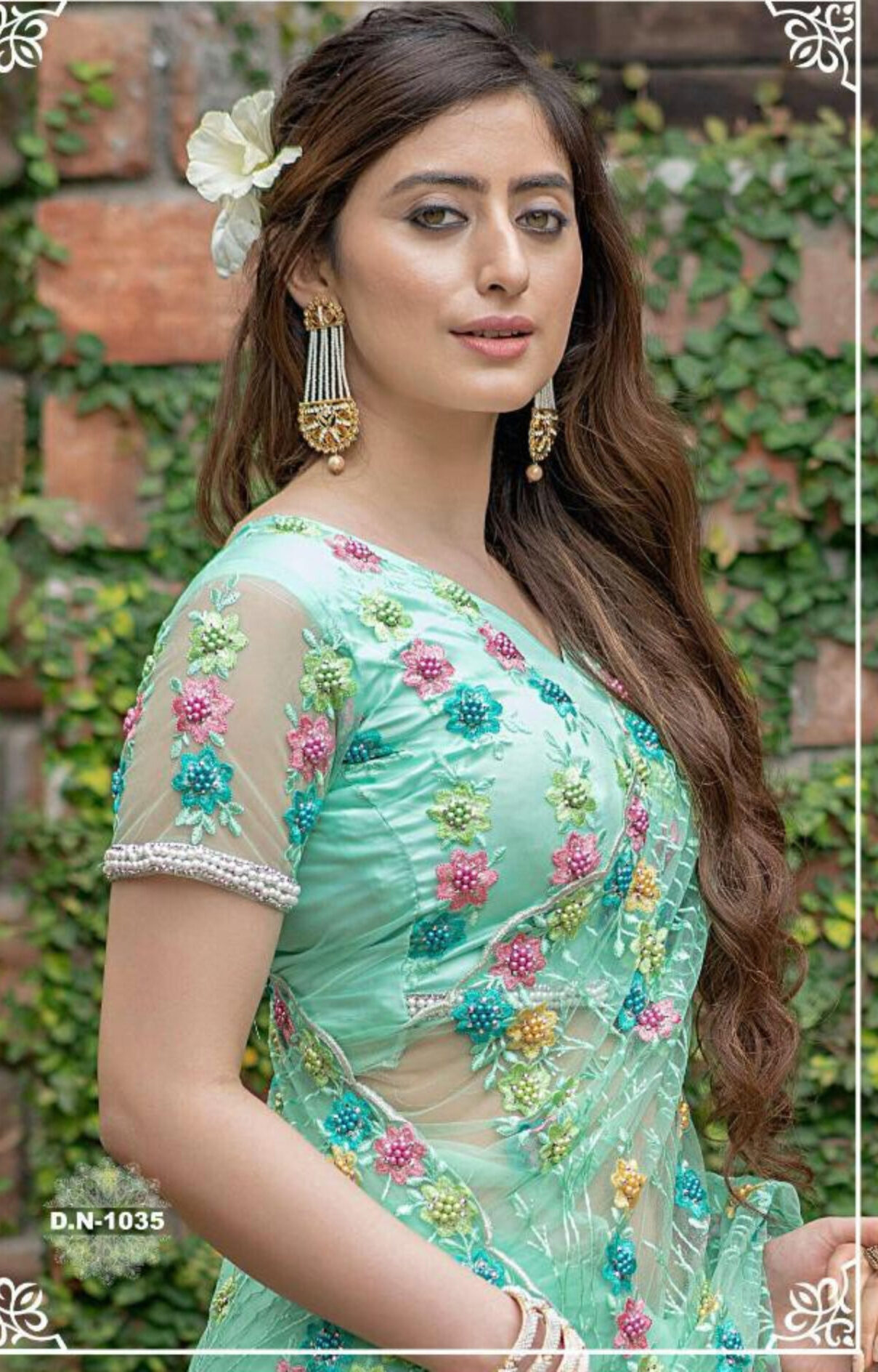 Sky Blue Colour Heavy Embroidered Net Saree for Wedding Party