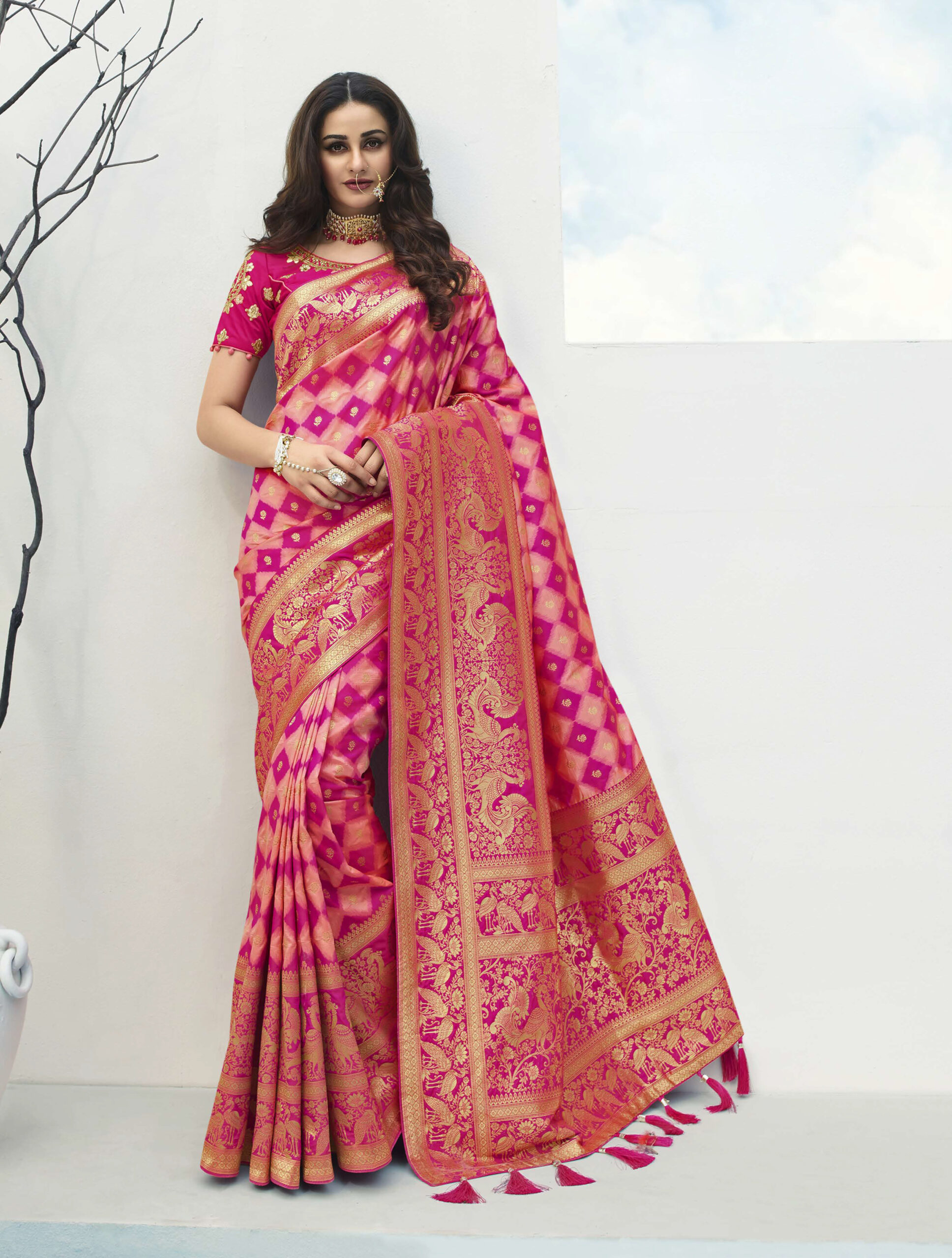 Latest Designer Magenta Color Silk Sarees for Wedding