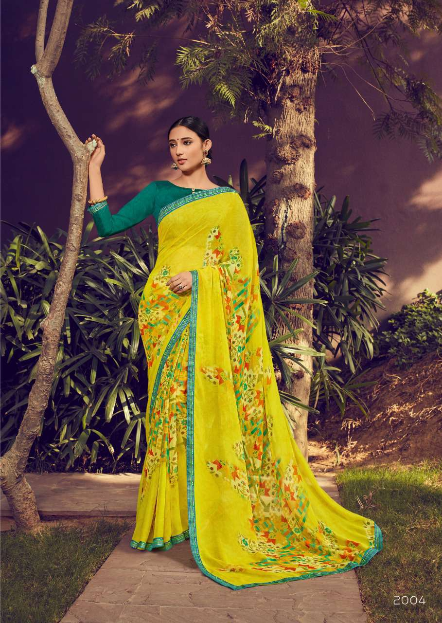 Lemon Colour Saree with Contrast Blouse in Green