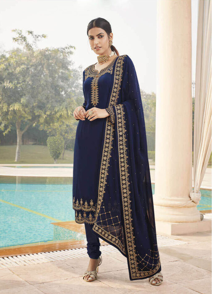 New Blue Color Heavy punjabi Wedding suit With Price.