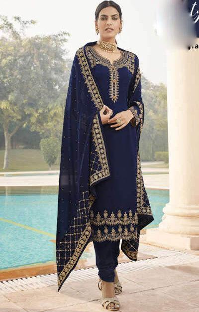 New Blue Color Punjabi Salwar Suit For Wedding