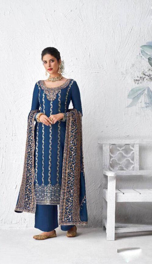 New Designer Blue Color Party Wear Salwar Suits