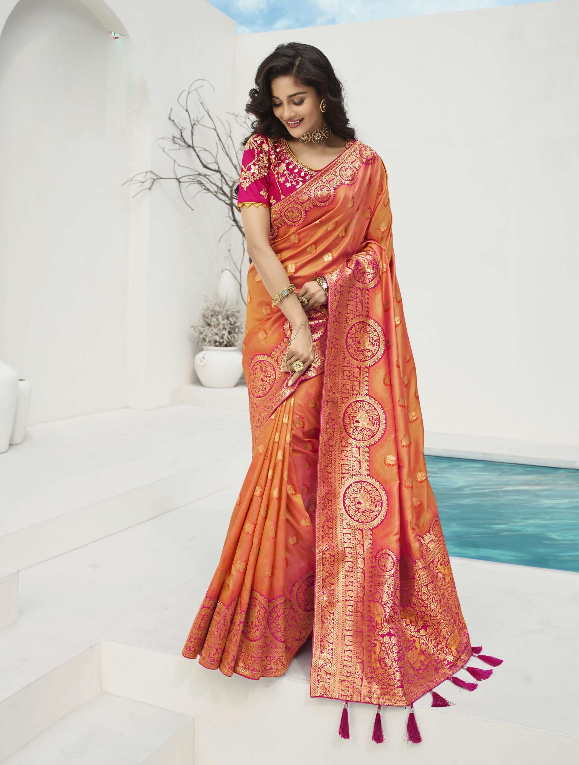 New Designer Orange Colour Saree with Blouse