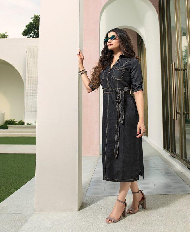 New Trend Designer Black Color Denim Kurti For Ladies.