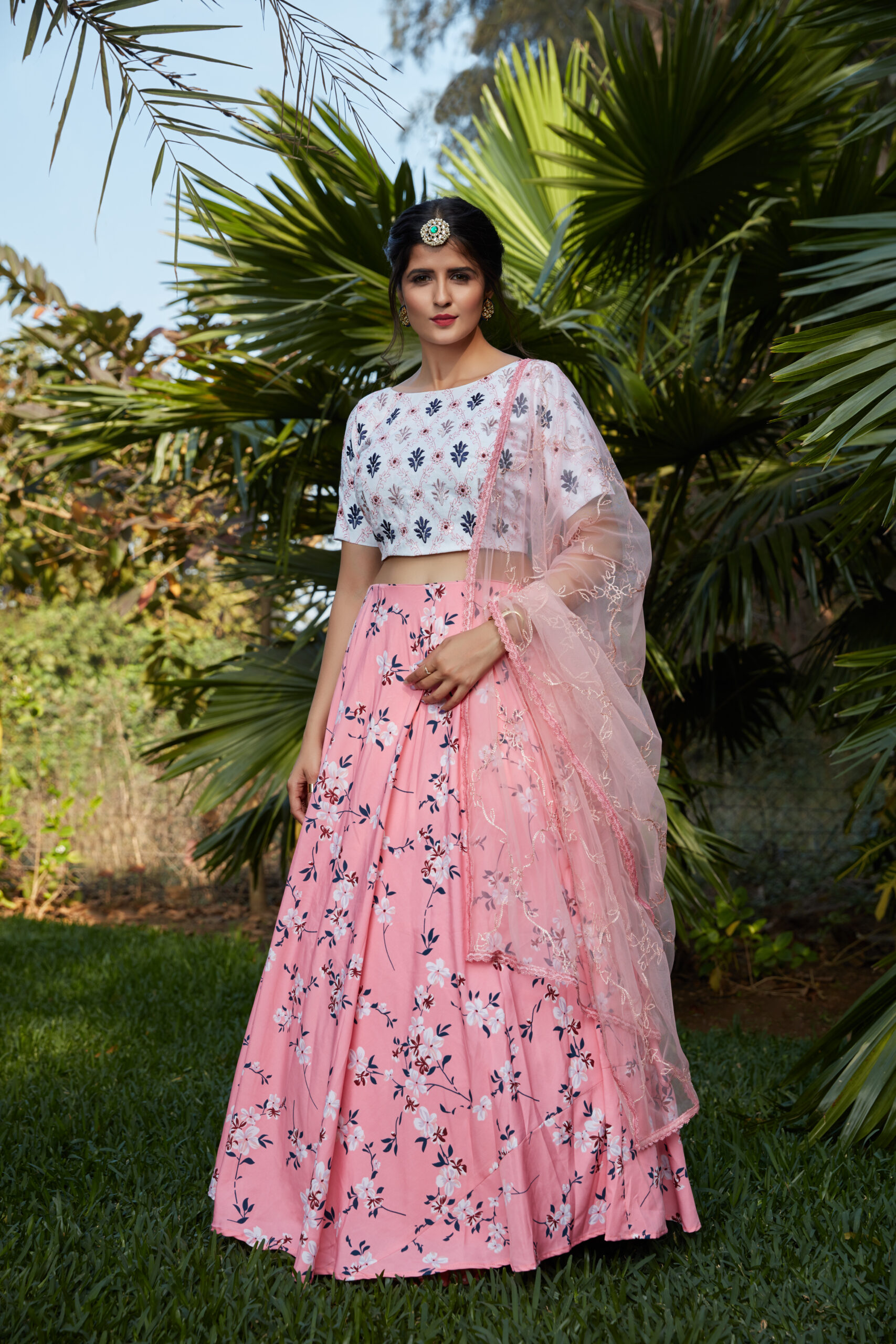 Off White Crop Top with Baby Pink Floral Print Lehenga