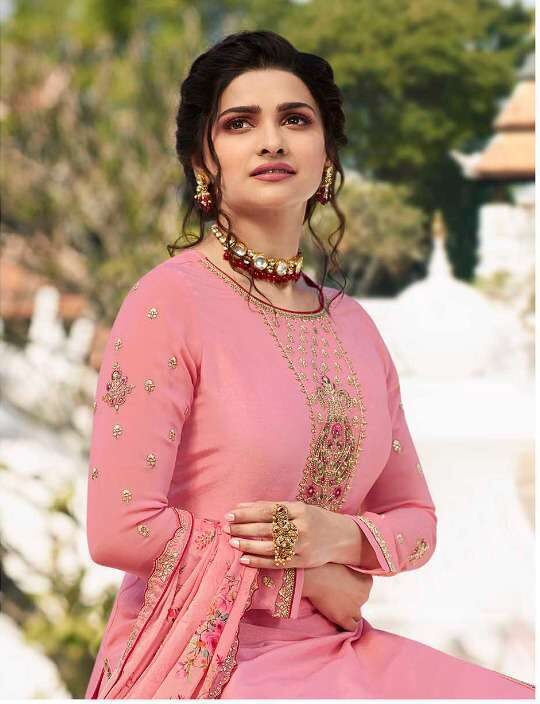 Party Wear Embroidered Baby Pink Latest Sharara Suit Design 2021