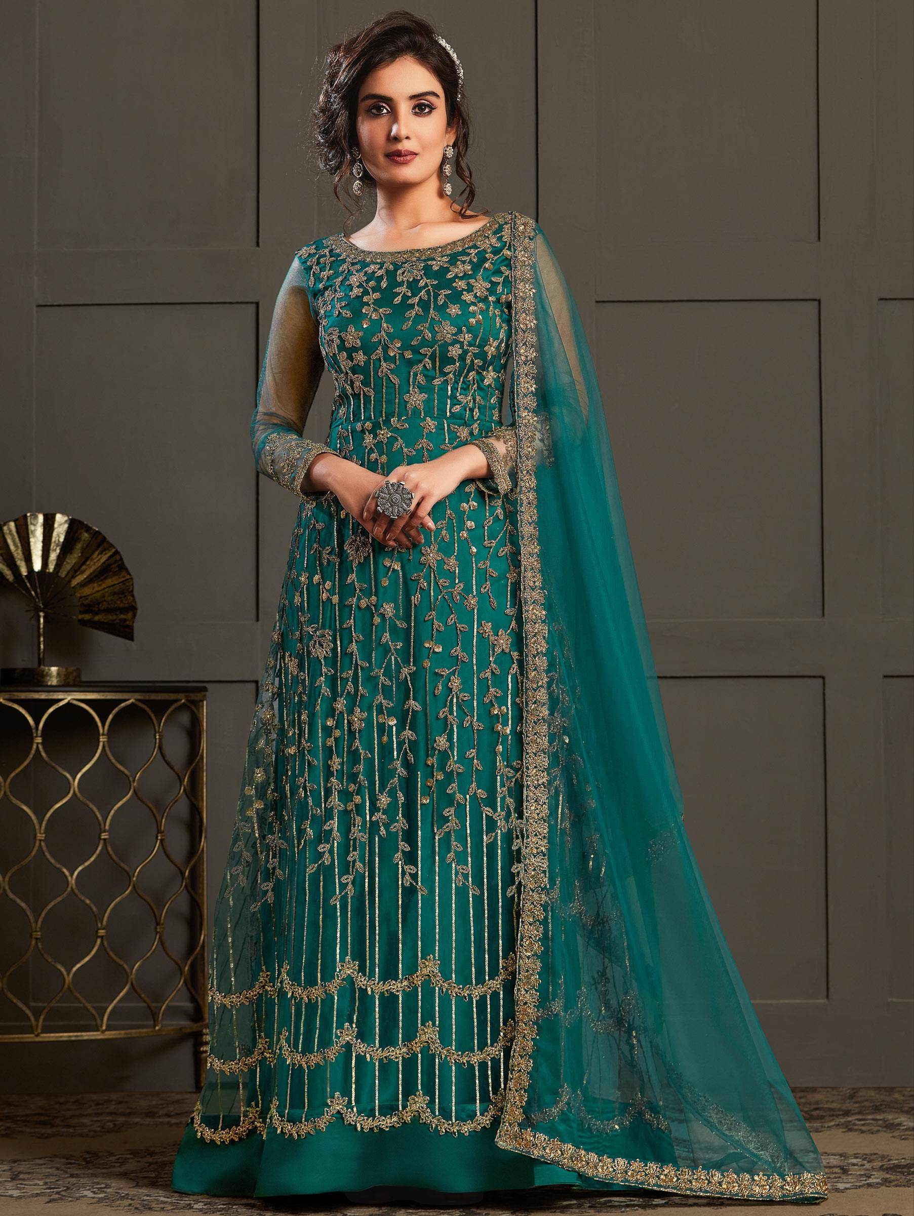 Peacock Blue Heavy Embroidered Net Gown with Dupatta