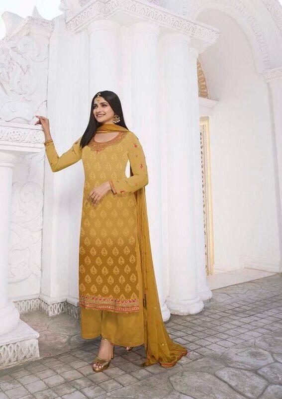 Prachi Desai latest Designer Punjabi Suits Party Wear in Yellow Colour