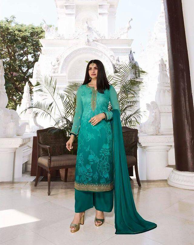 Turquoise Blue Latest Salwar Suit Design Photos