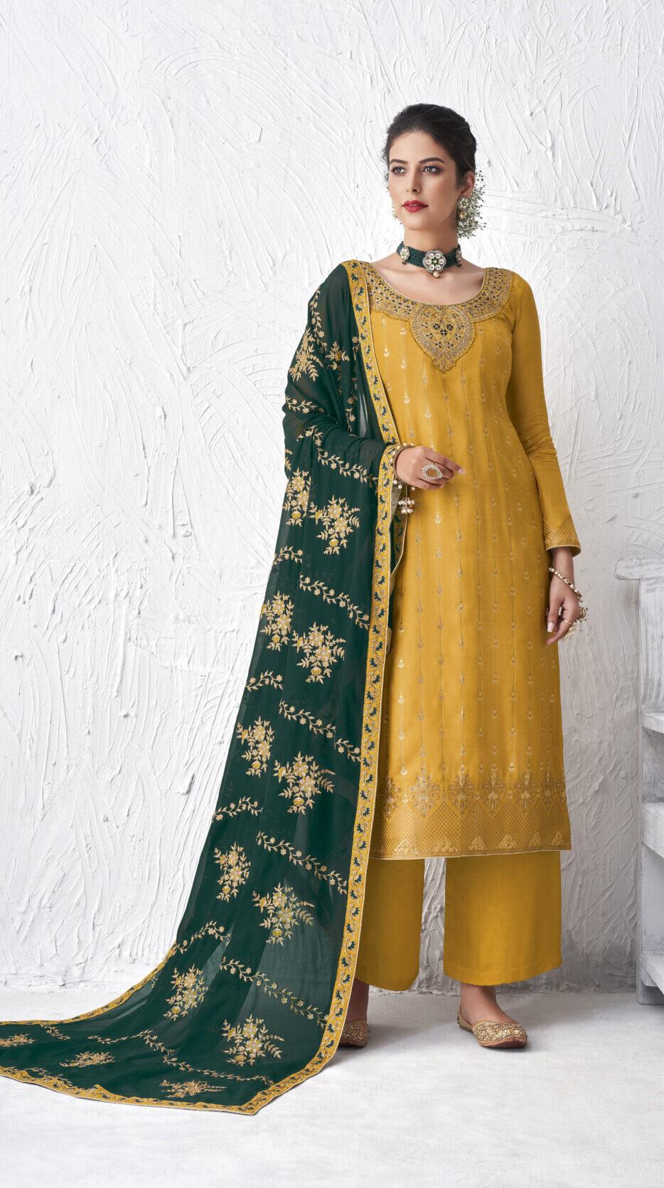 Yellow Salwar Suits with Green Dupatta Bridal Punjabi Suits