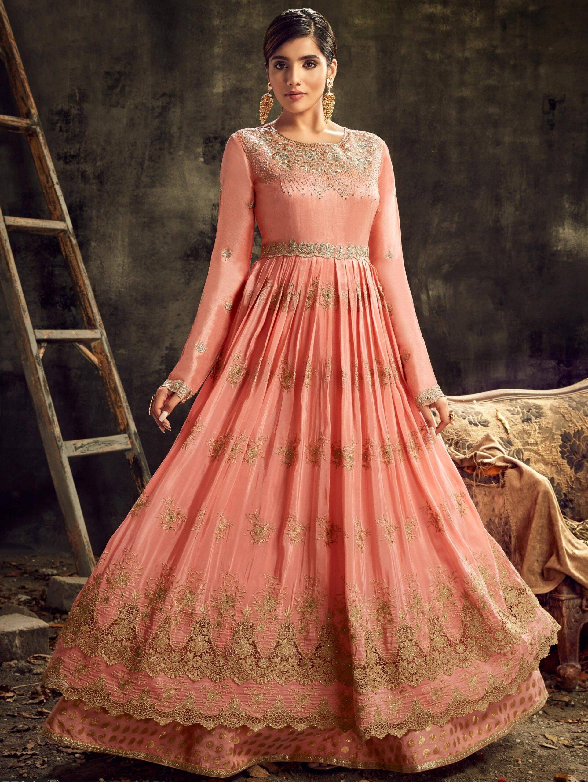 Designer Embroidered Mistyrose Gown for Wedding Receptiona