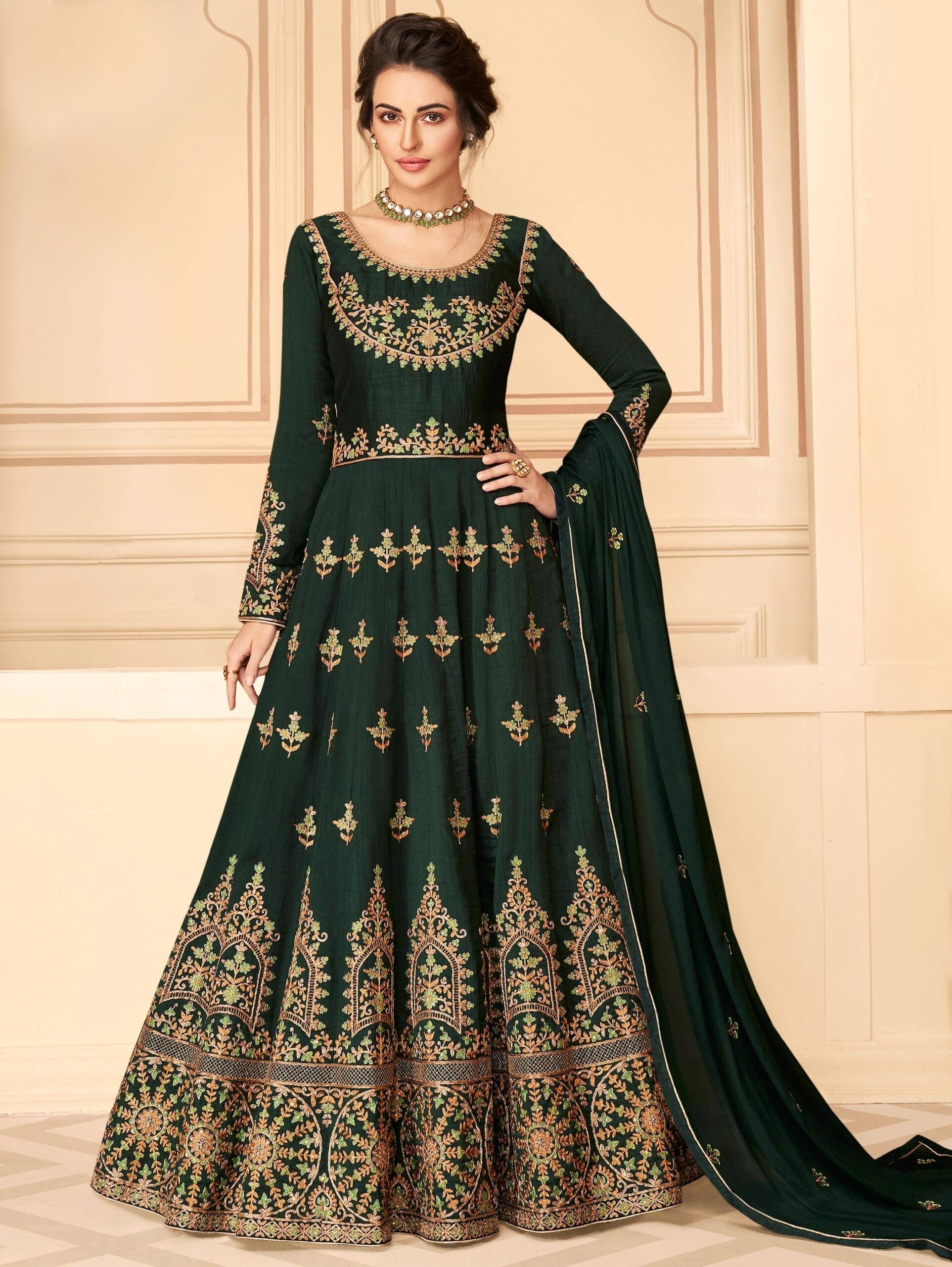 Green Colour Anarkali Gown with Golden Border