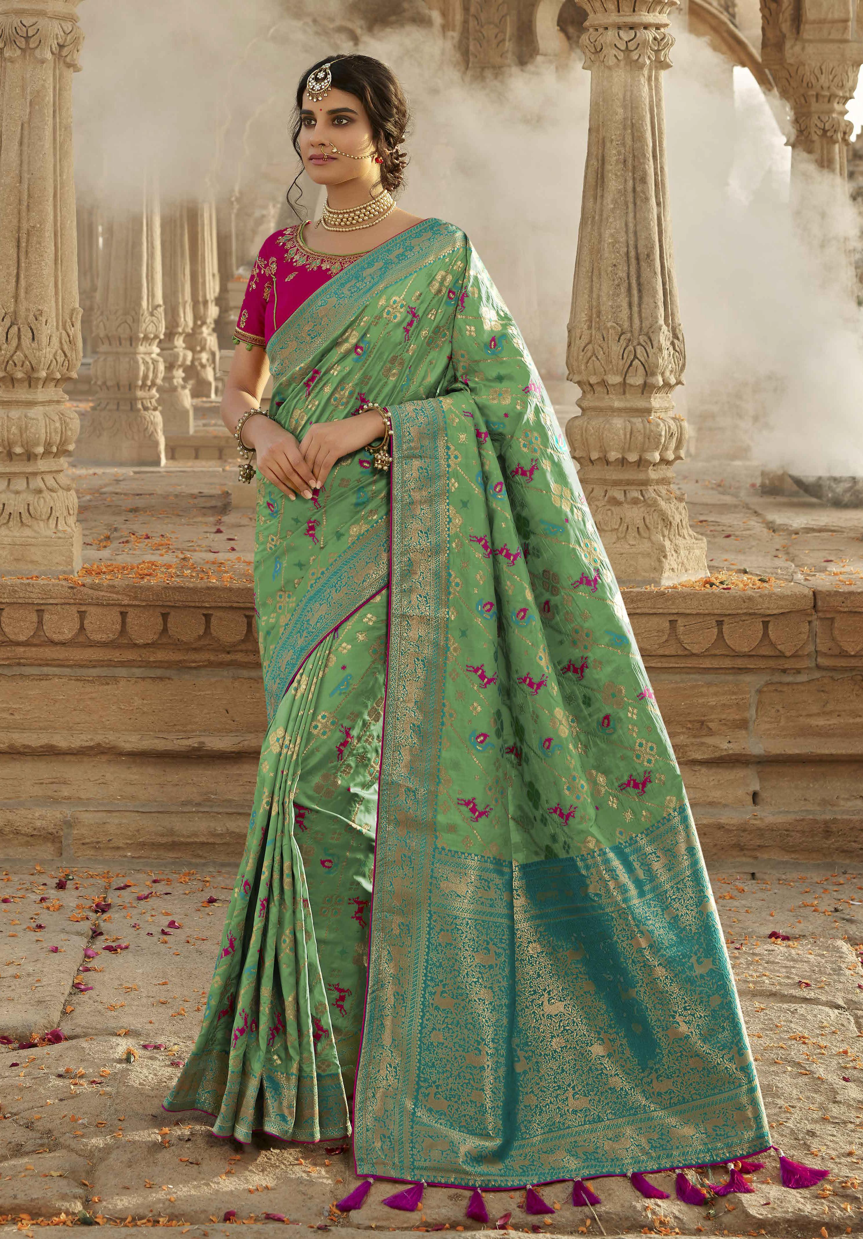 Green Silk Saree Matching Blouse