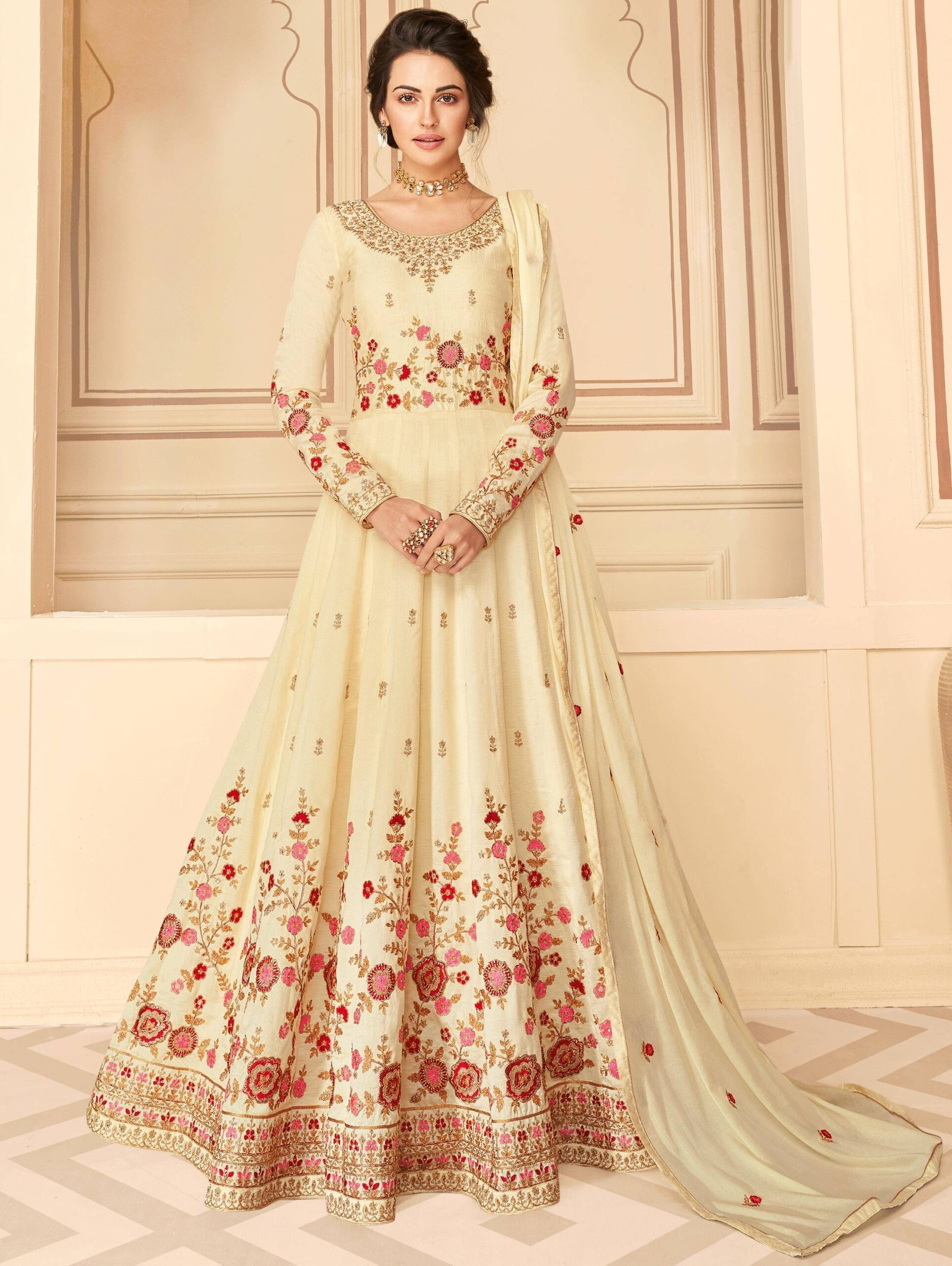 Heavy Embroidered Bisque Colour Anarkali Dress with Price 2021