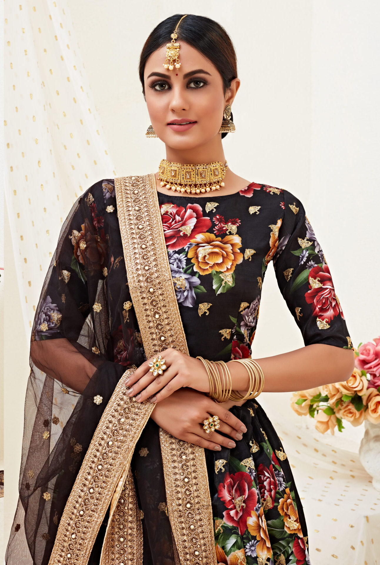 Designer Flower Print Black Lehenga Choli Party Wear
