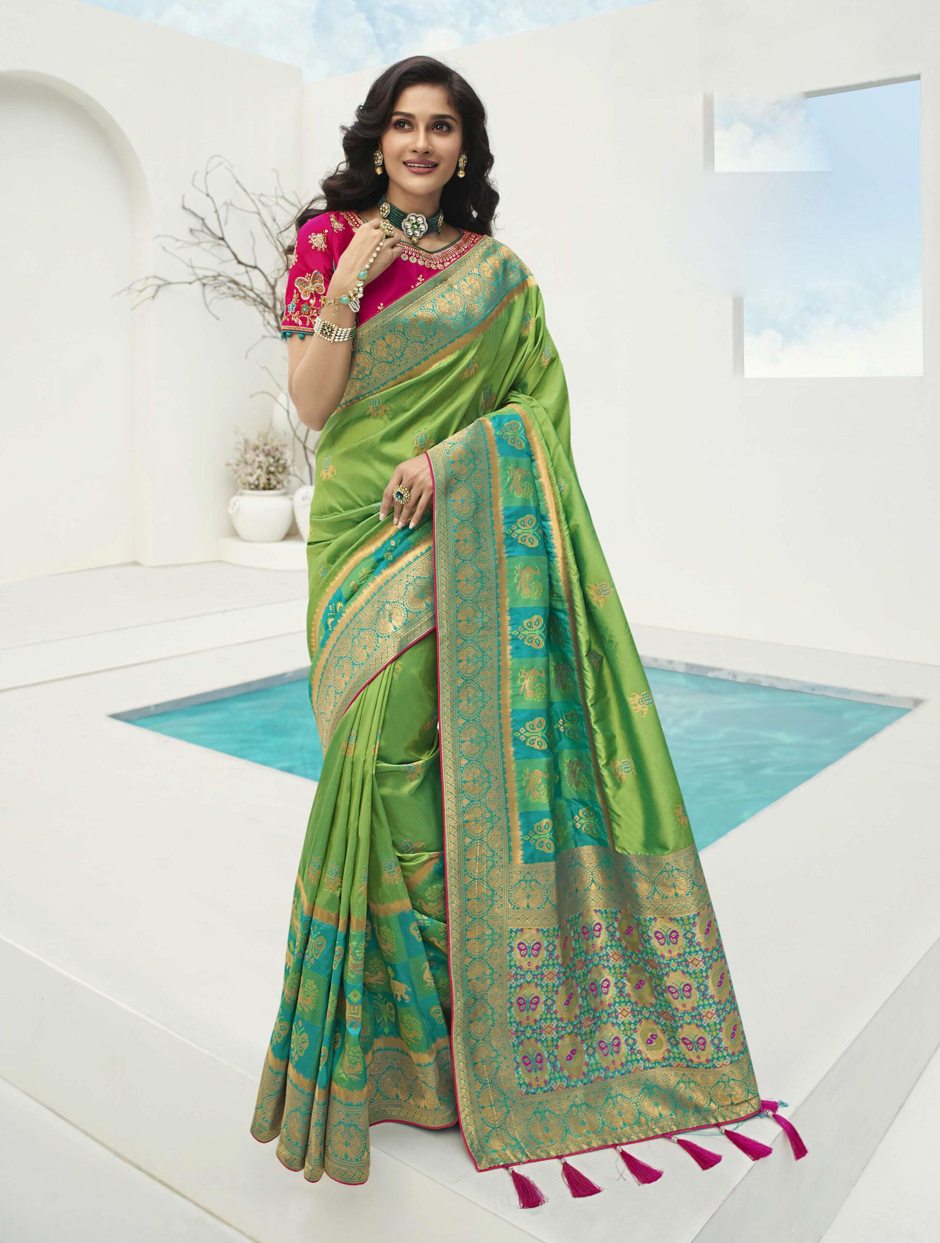 Magenta Colour Saree With Green Blouse