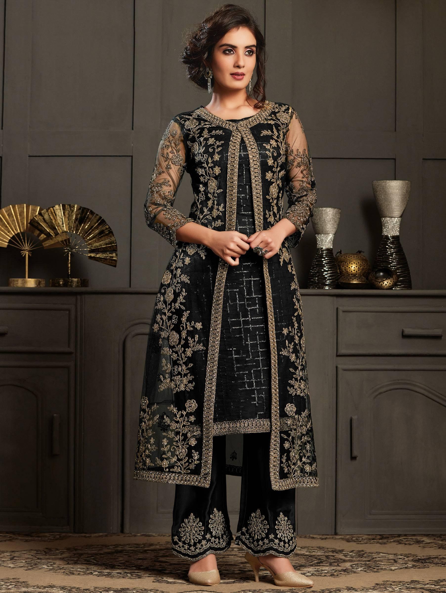 Party Wear Black Net Salwar Suit Design Images