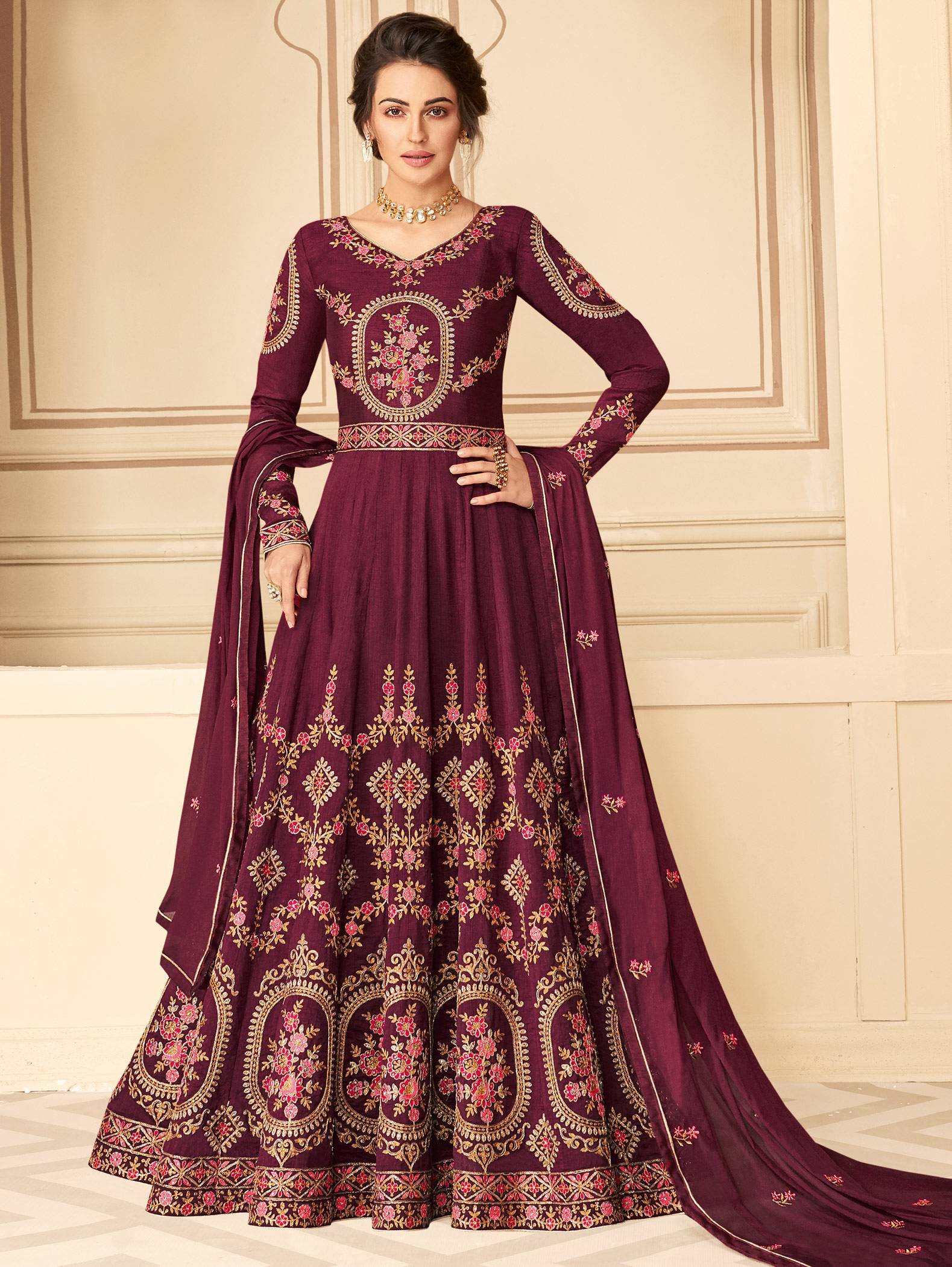 party wear floor length dresses with dupatta