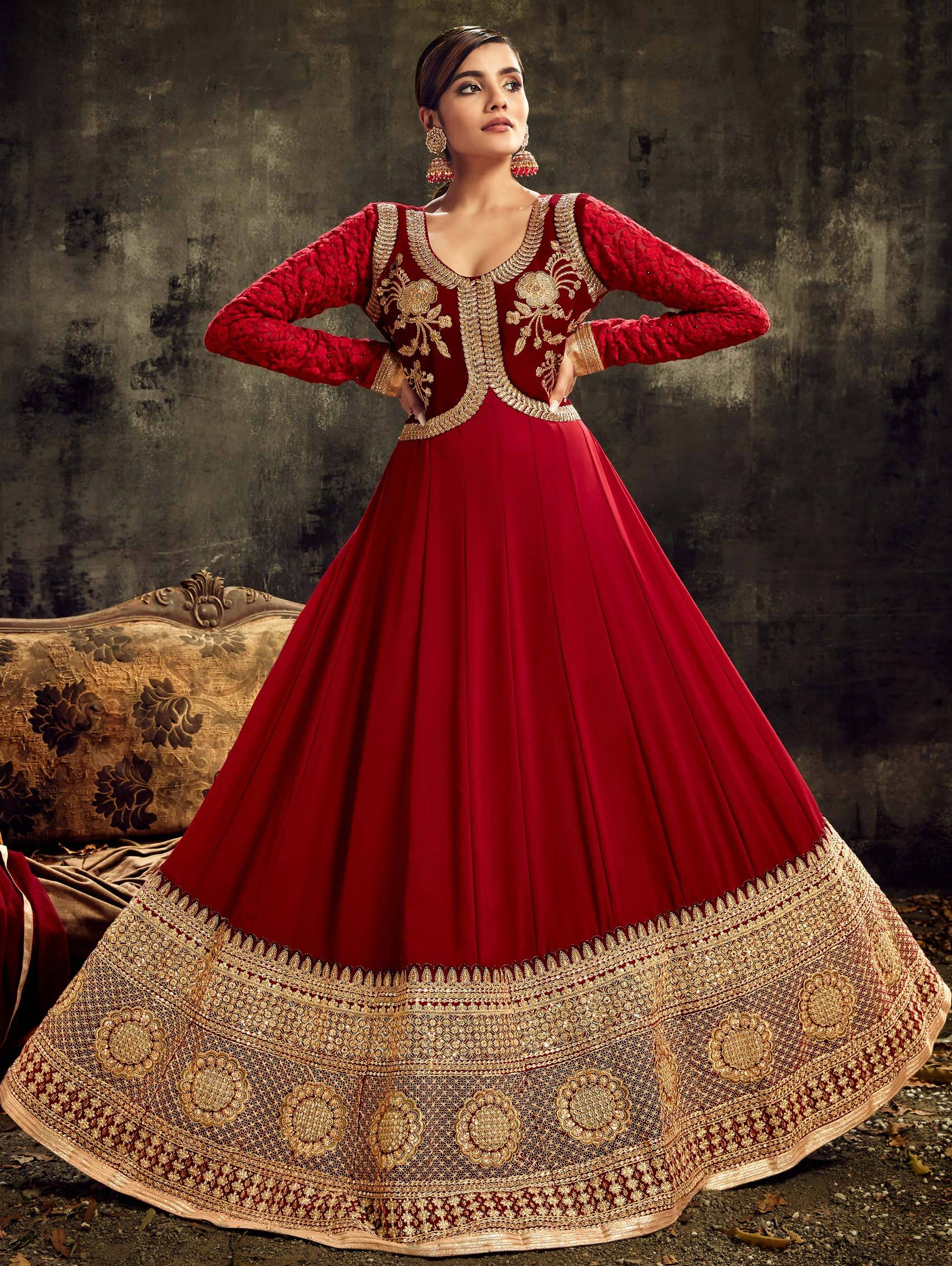 Red Anarkali Suit Designs With Gold Border