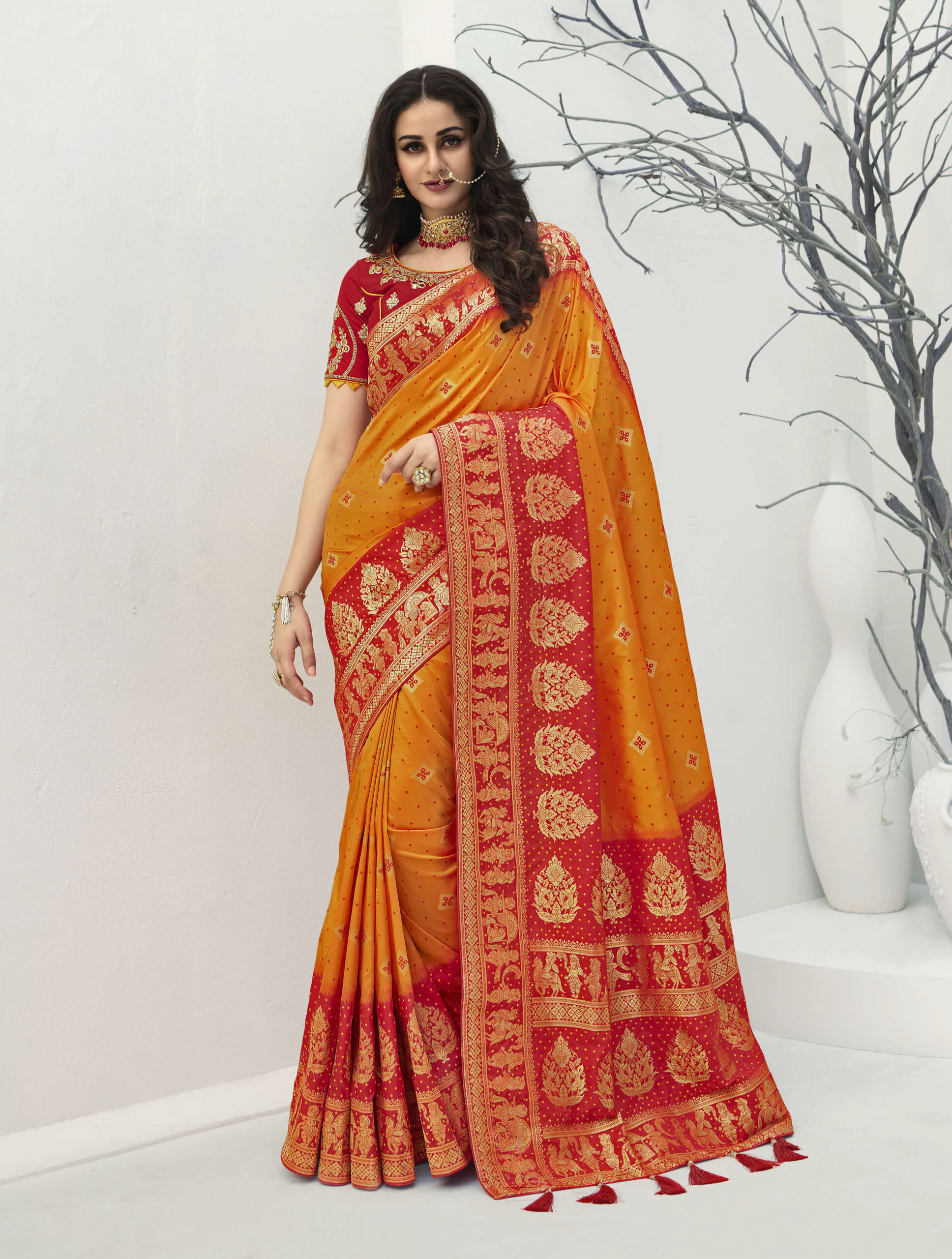 Turmeric Yellow Designer New Saree Design with Red Combination