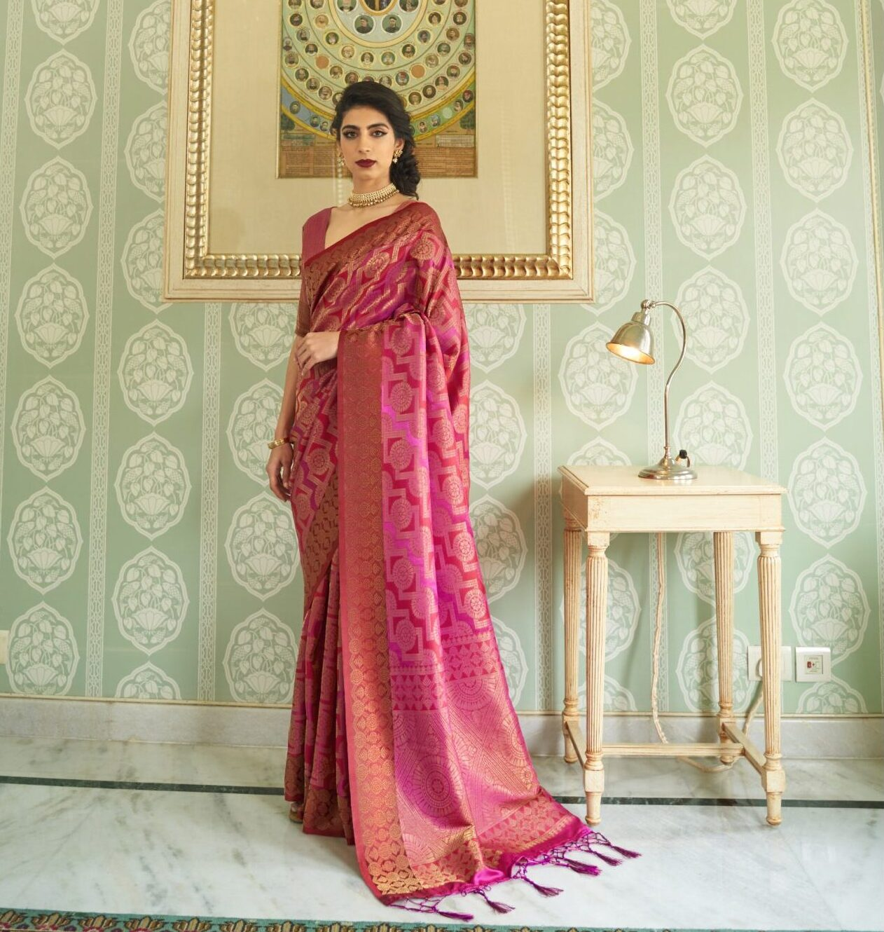 New Trend Designer Pink Color Silk Saree Party-Wear Online.