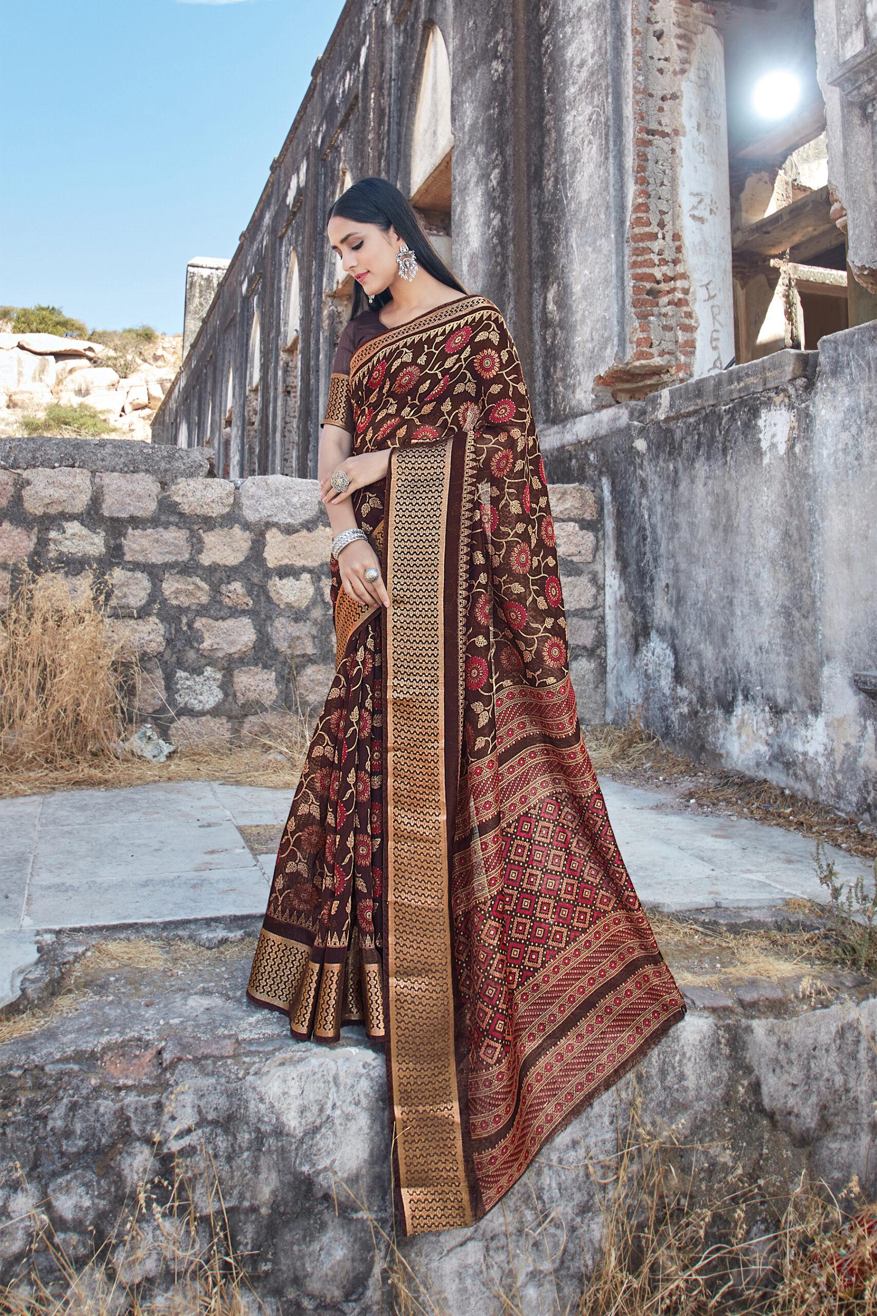 Best Traditional Brown Color Cotton Saree Blouse Design