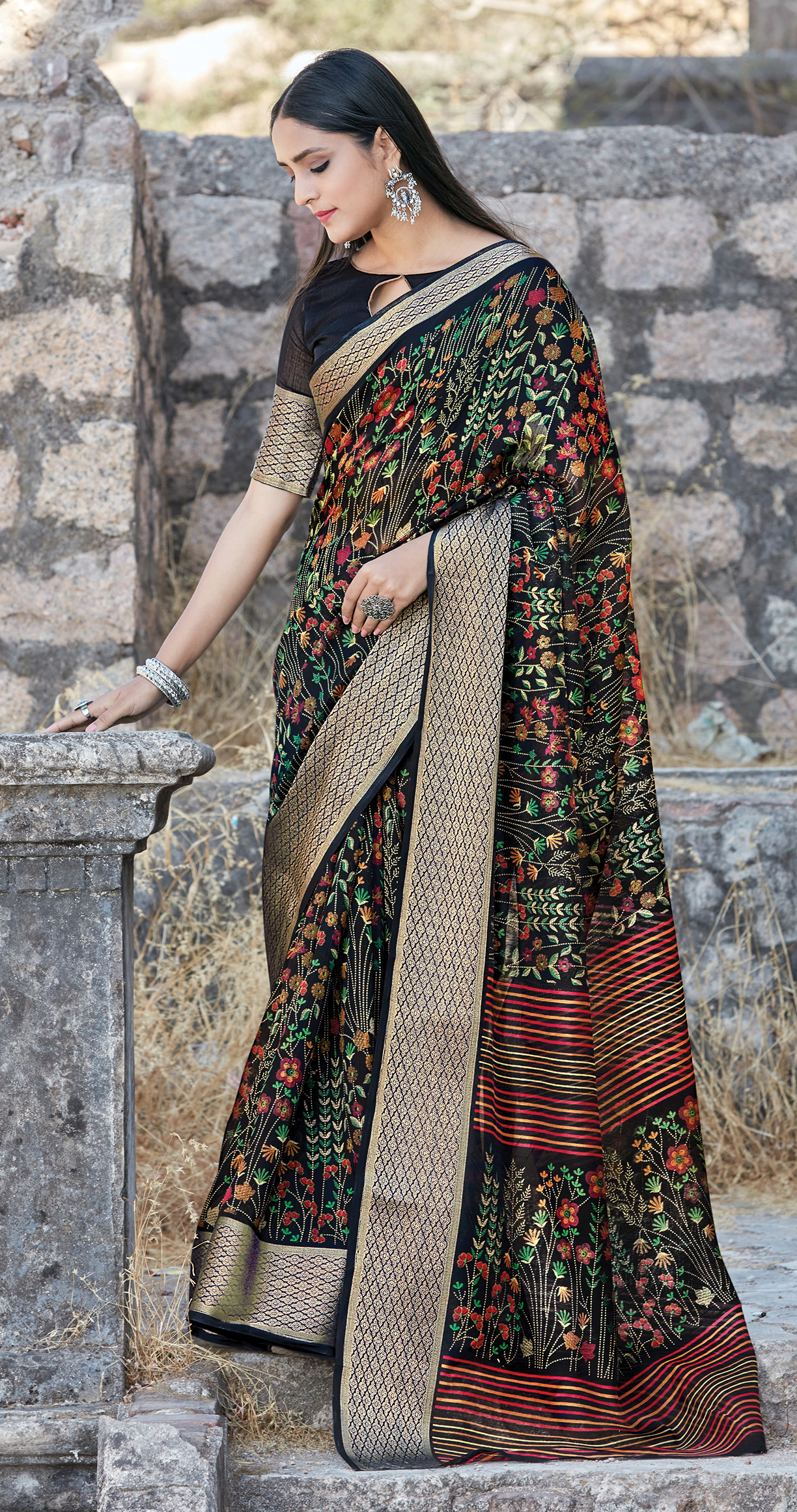 Best Traditional Black Color Cotton Saree Online Shopping.