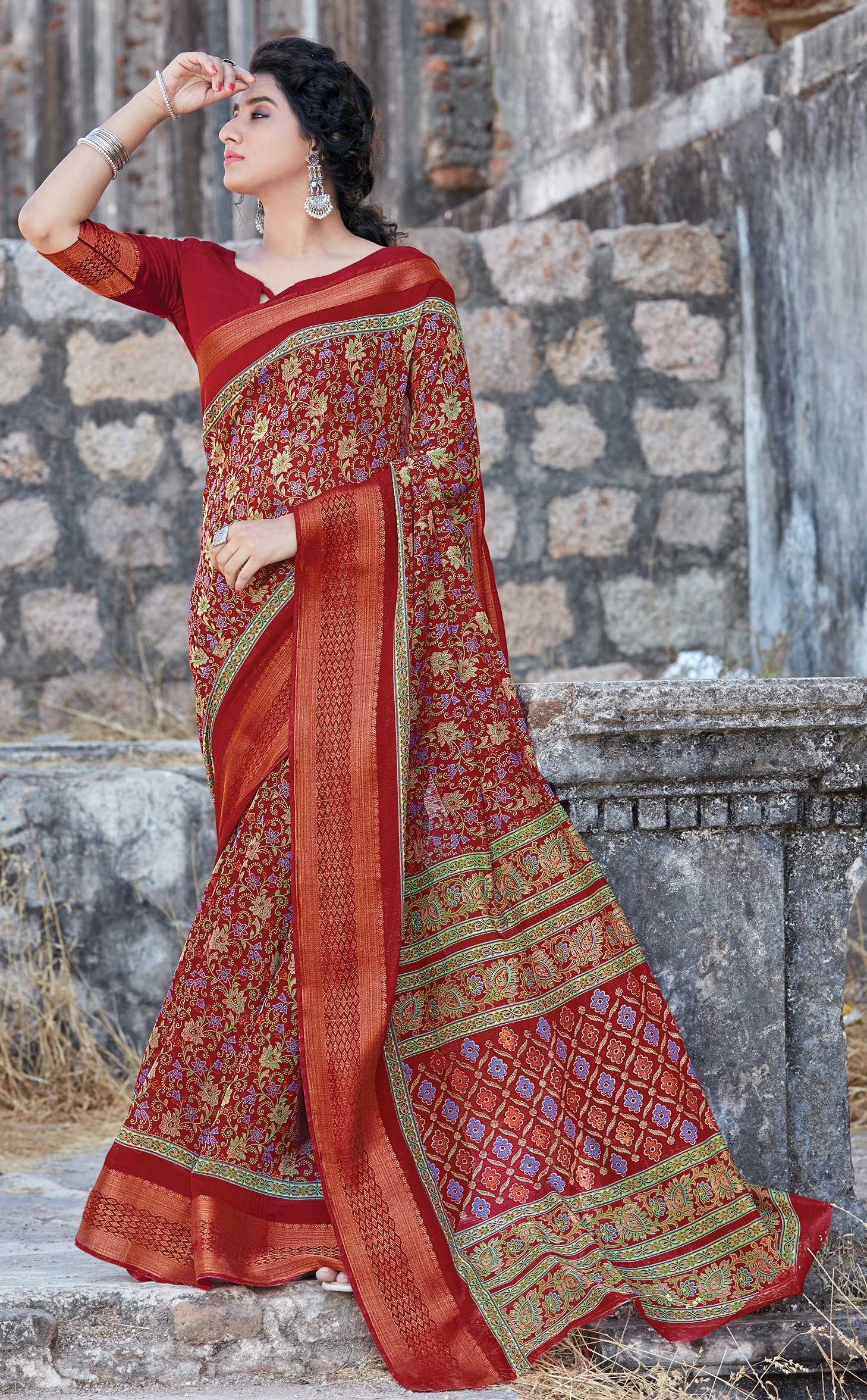 Best Trend Red Color Design For Cotton Saree With Blouse