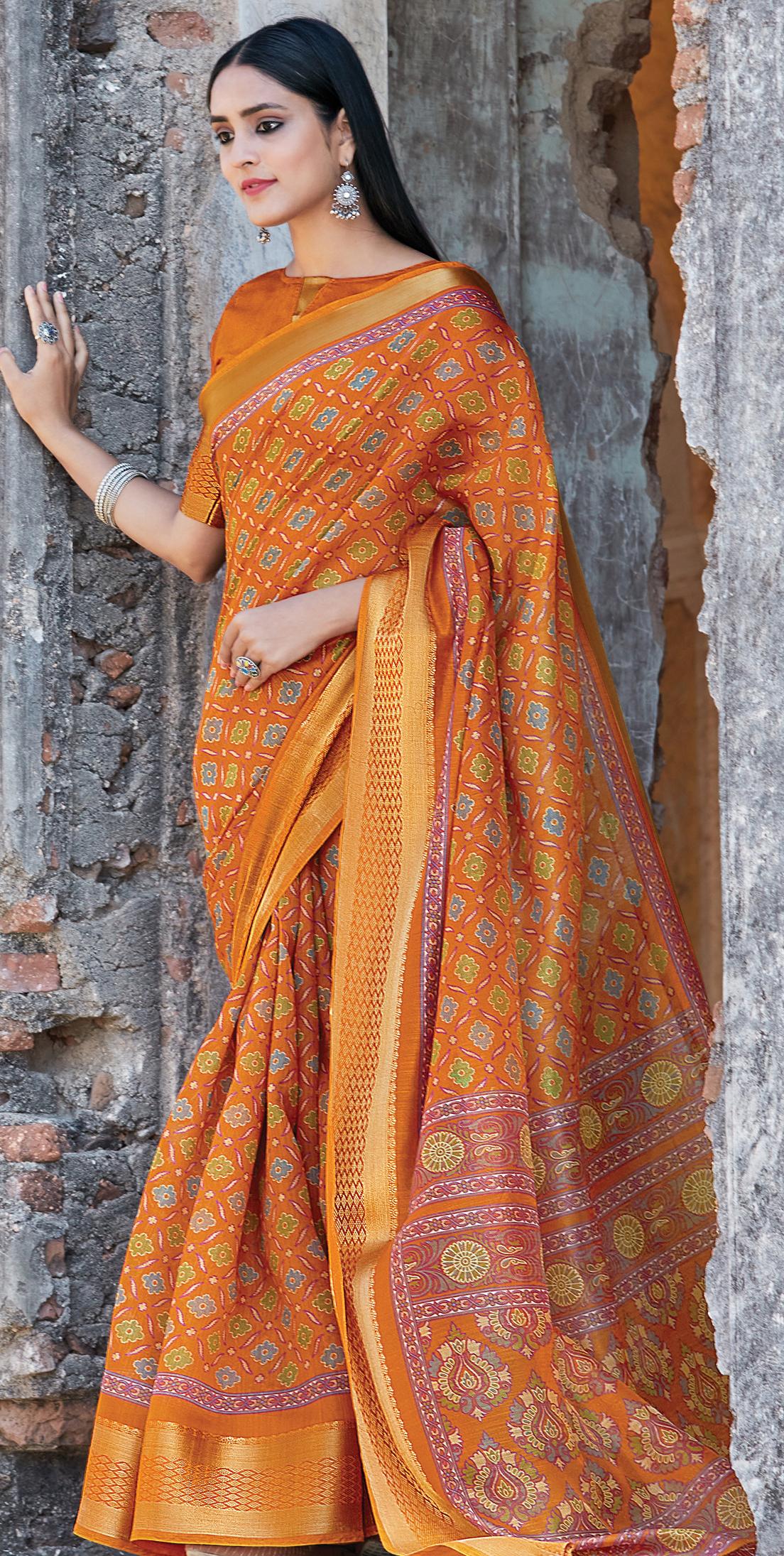 New Trend Designer Yellow Color Online Cotton Silk Saree