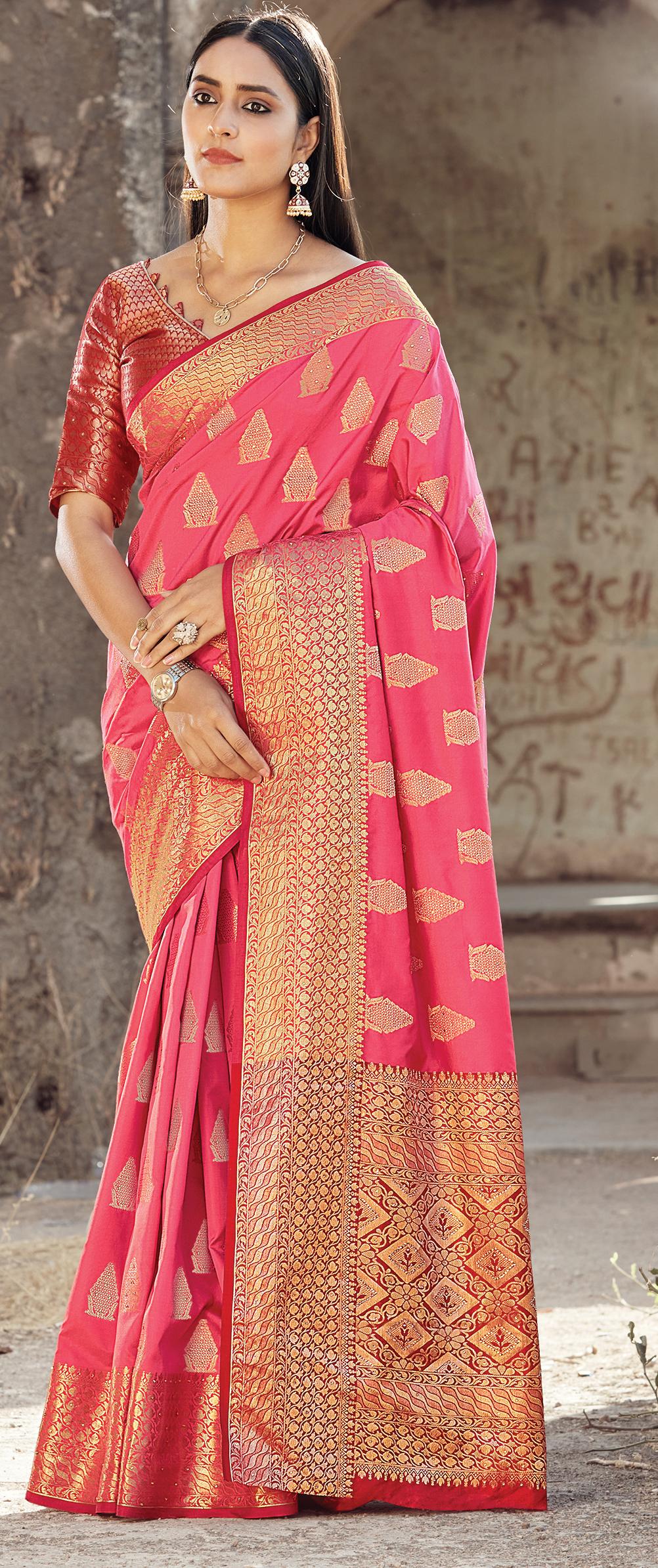 New Trend designer Pink Color Latest Silk Saree Trend 2021