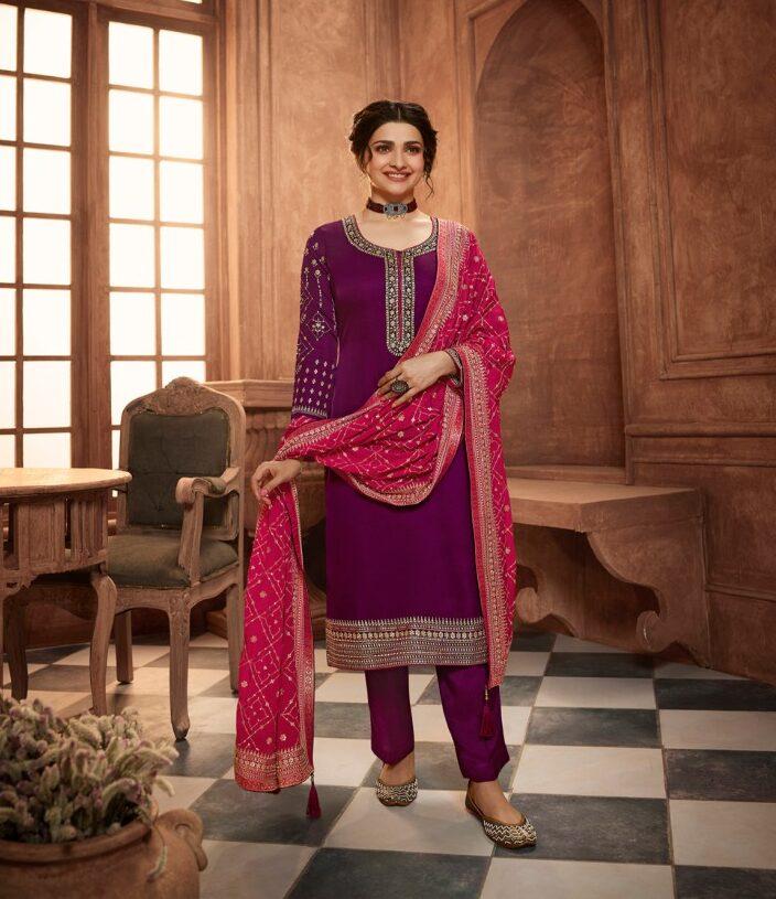 New Trend Designer Purple Color Heavywork Salwar Suit.