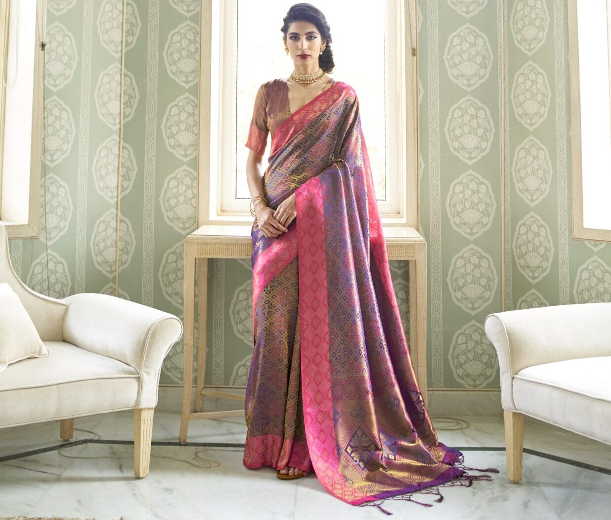 Best Embroidery Work Multicolor Silk Saree Simple Classy Blouse Design