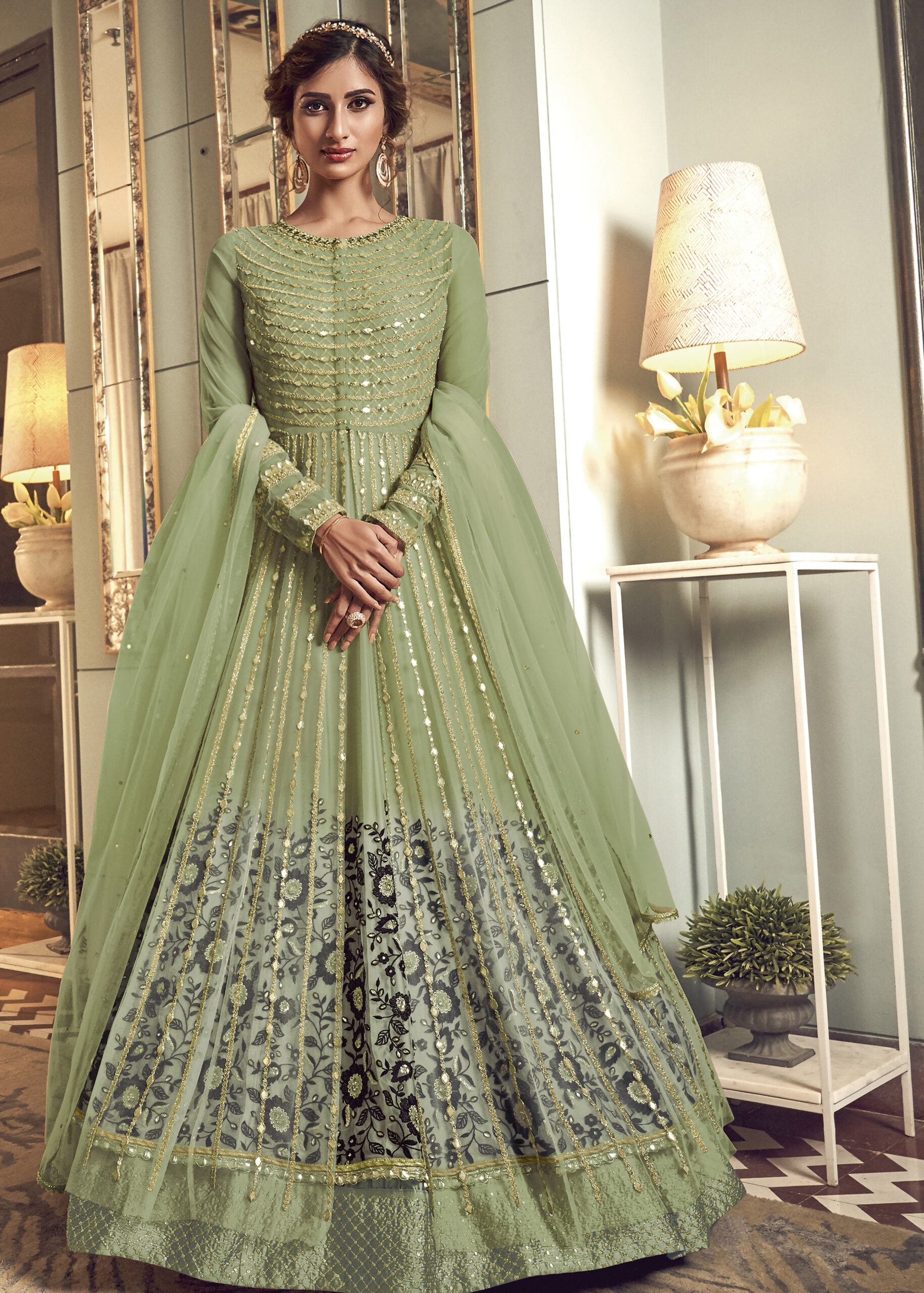 Baby Green Floor Length Anarkali Suits with Price