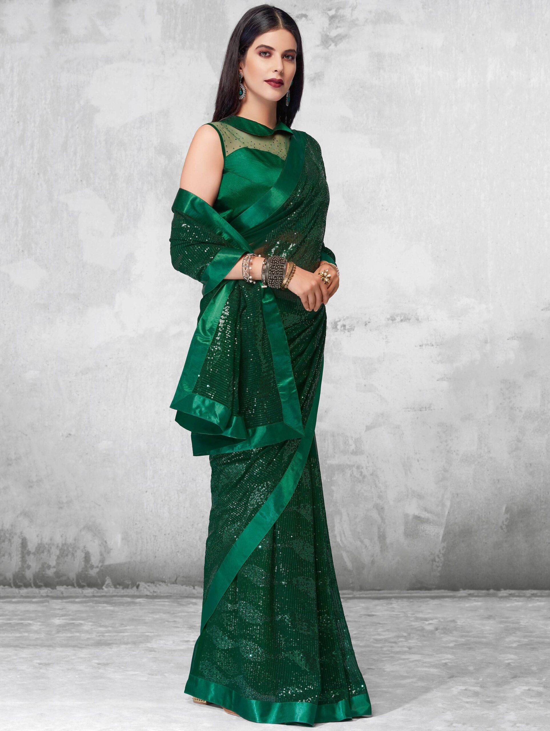 Best Dark Green Color Latest Partywear Saree 2021.