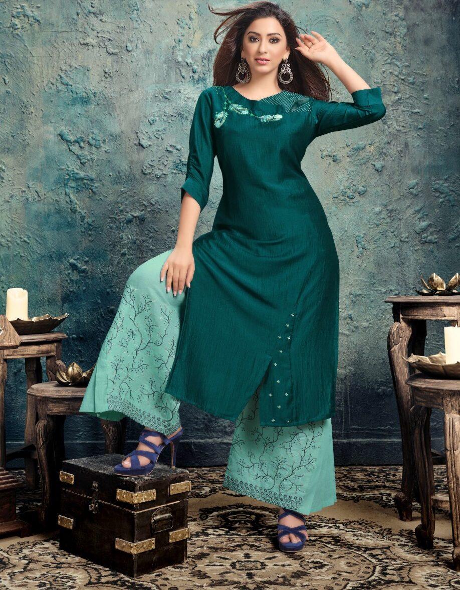 Best Designer Green Color Readymade Latest Fancy Kurti.