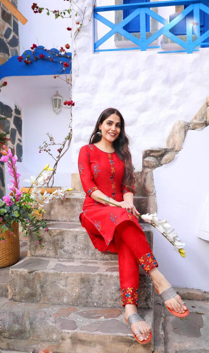 Best Designer Red Color Readymade Cotton Kurti.