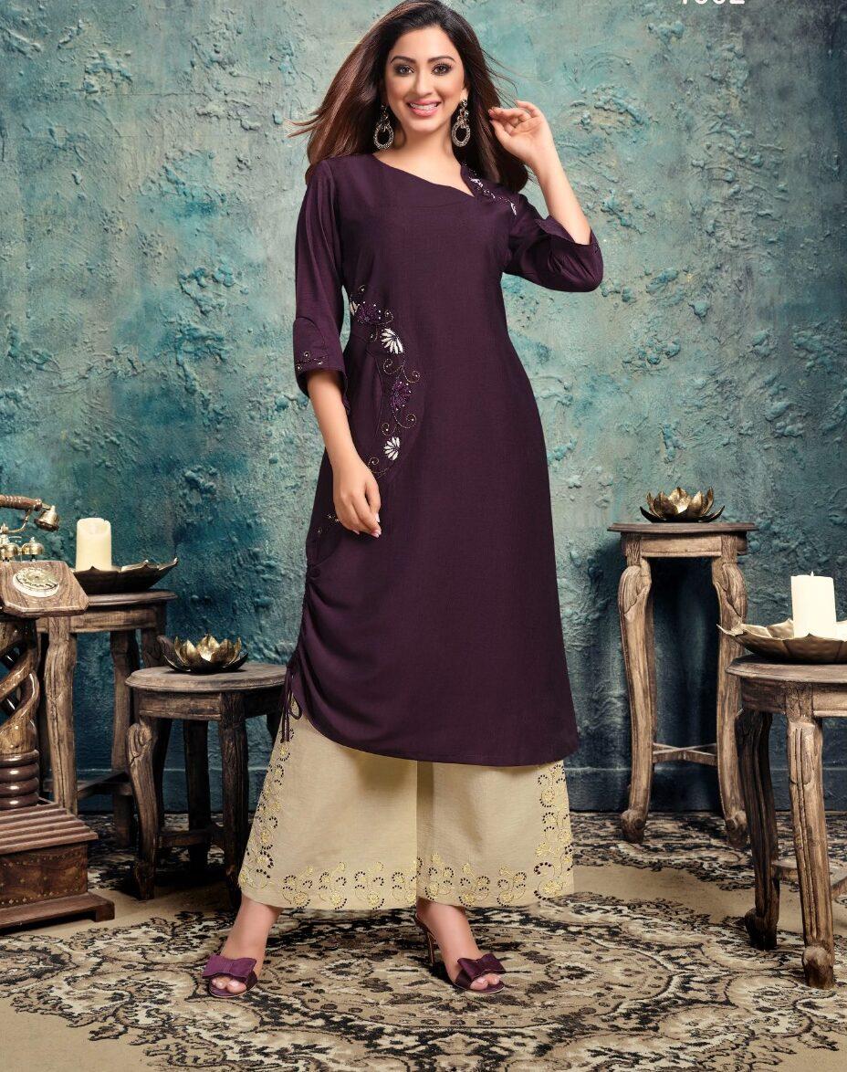 Best Latest Designer Purple color Fancy Kurti for Ladies.