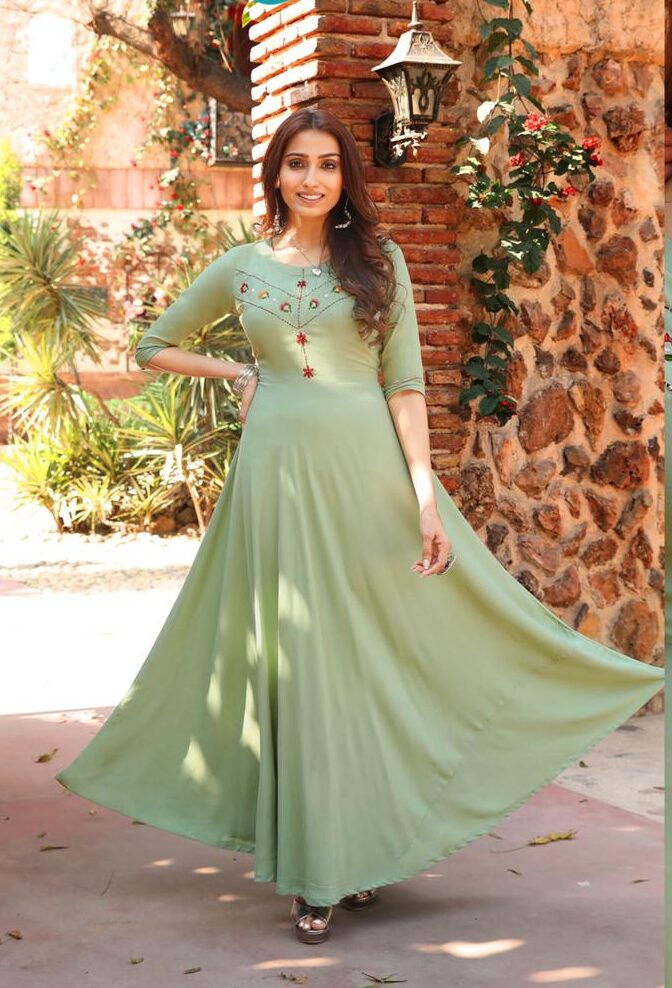 Best Latest Mode Light Green Color Long Frock Suit Punjabi.