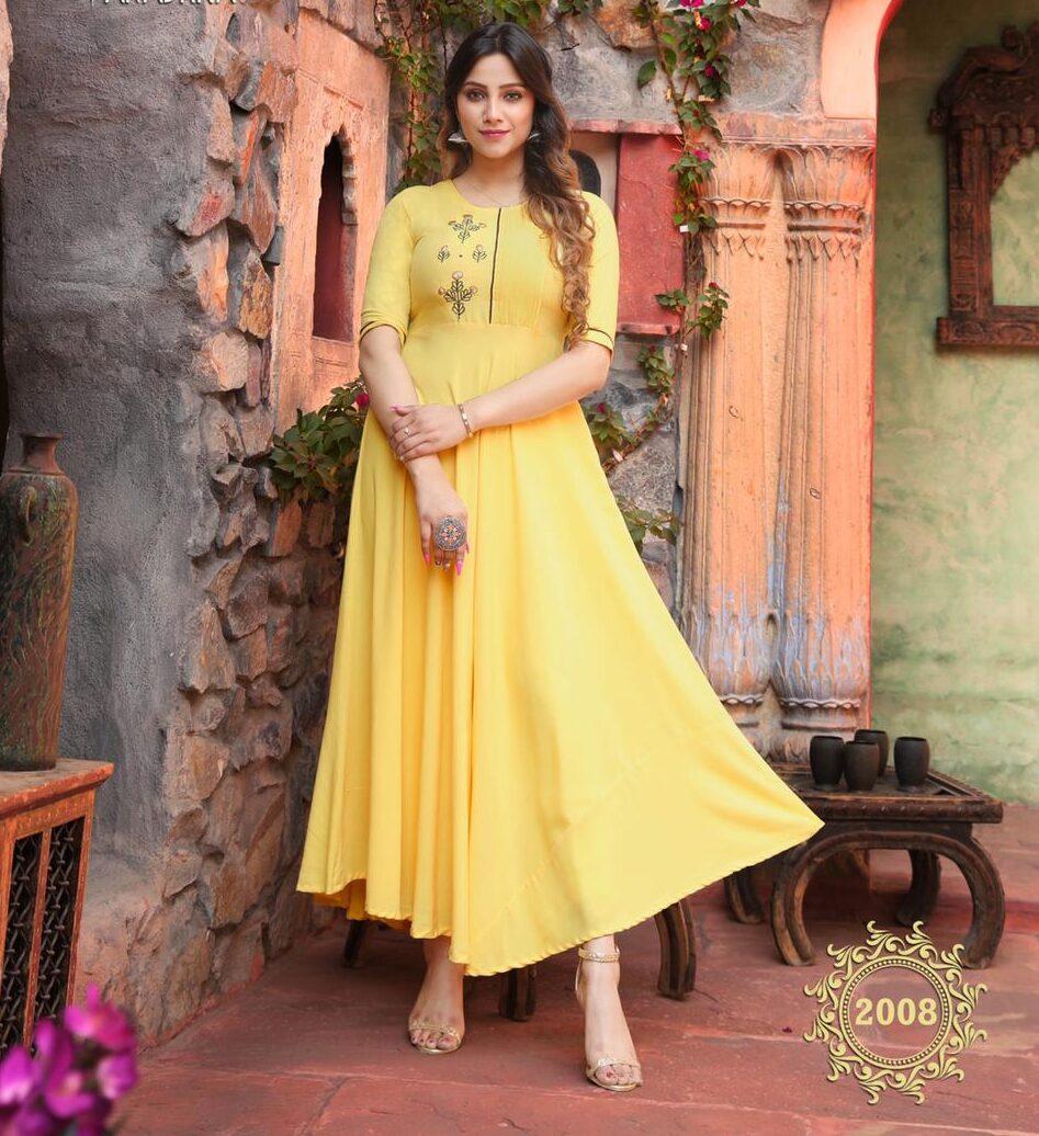 Best Latest Mode Maker Yellow Color Anarkali Long Kurti.