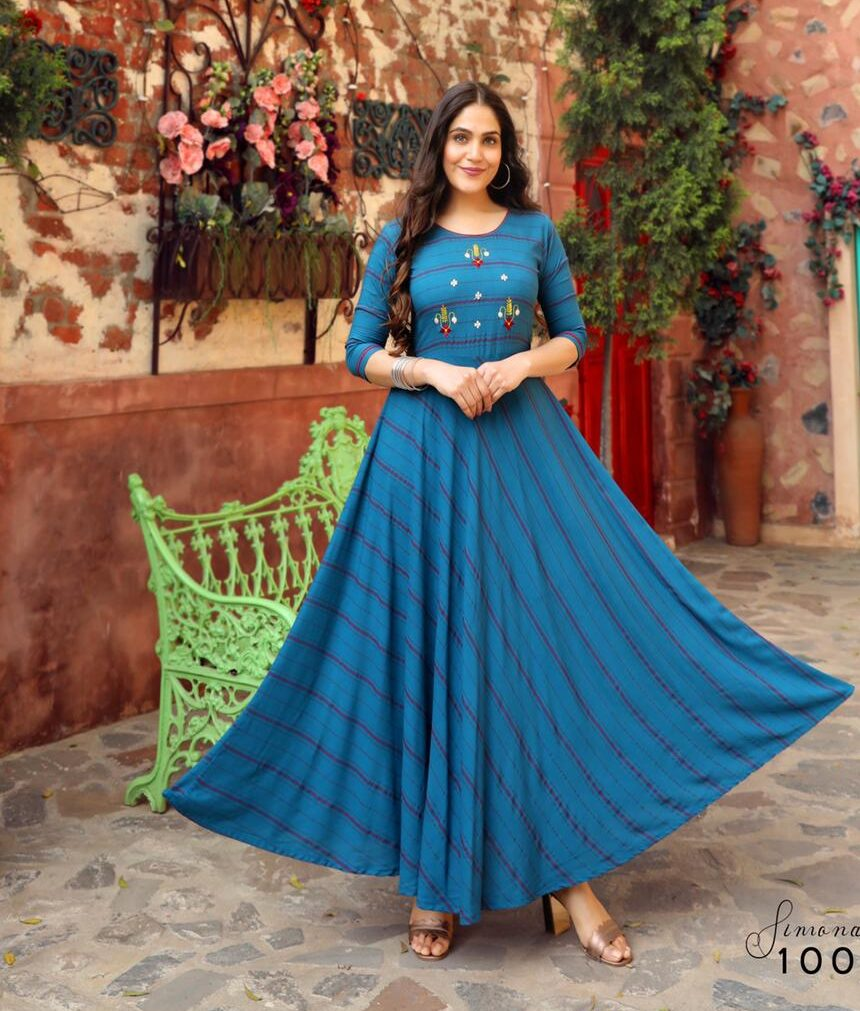 Best Mode Maker Sky-Blue Color Long Anarkali Kurti Online.