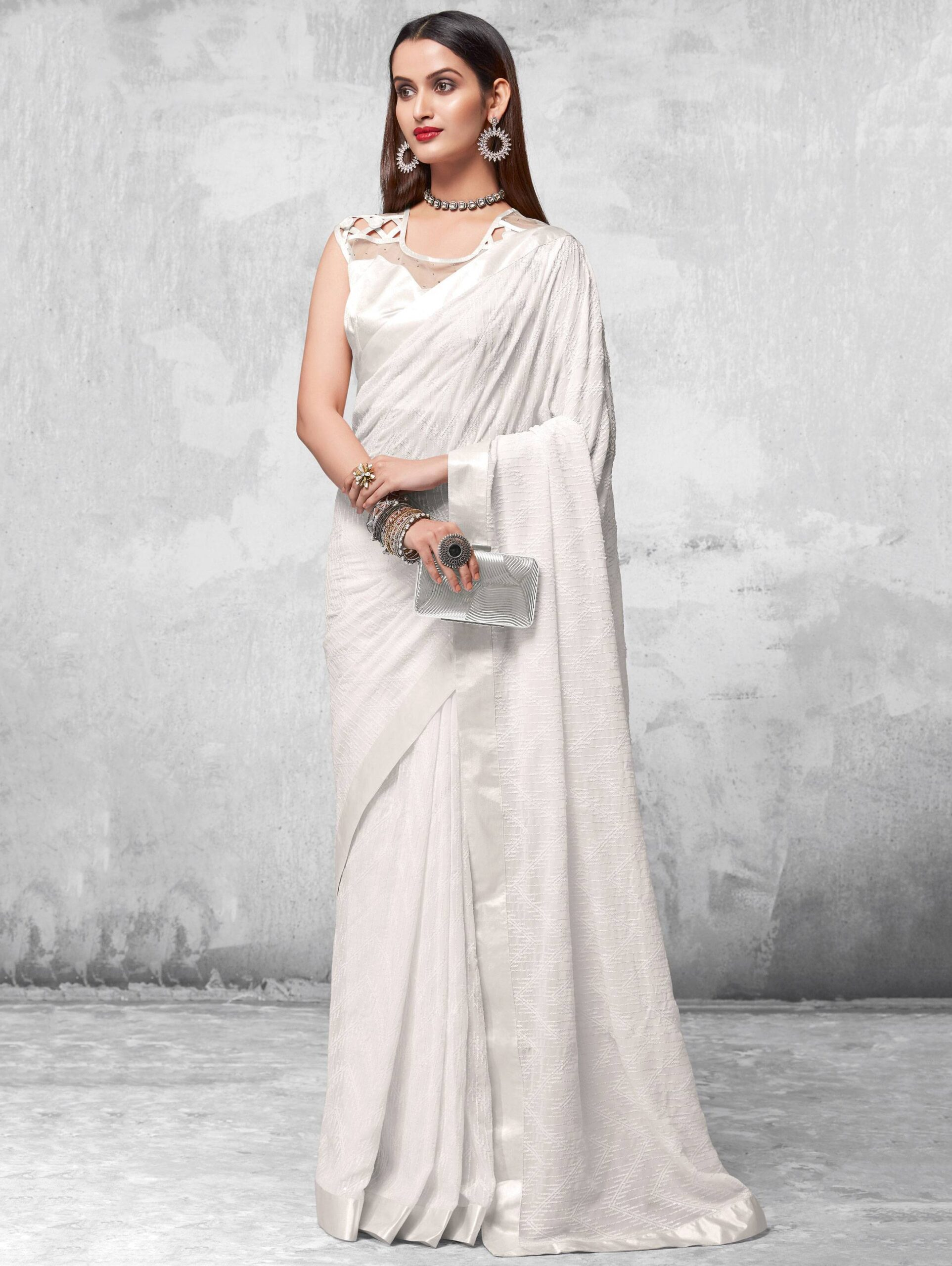 Best Off White Color Soft Silk Party-wear Saree With Designer Blouse.