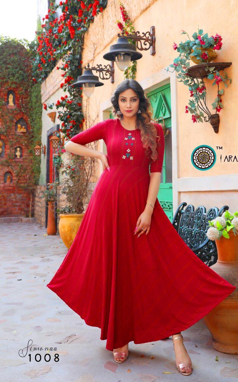 Best Red Color Anarkali Kurti For Wedding Designer For Bride.