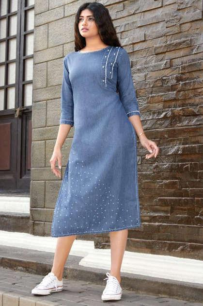 Best Trend Designer Blue Color Denim Long Kurti Online.