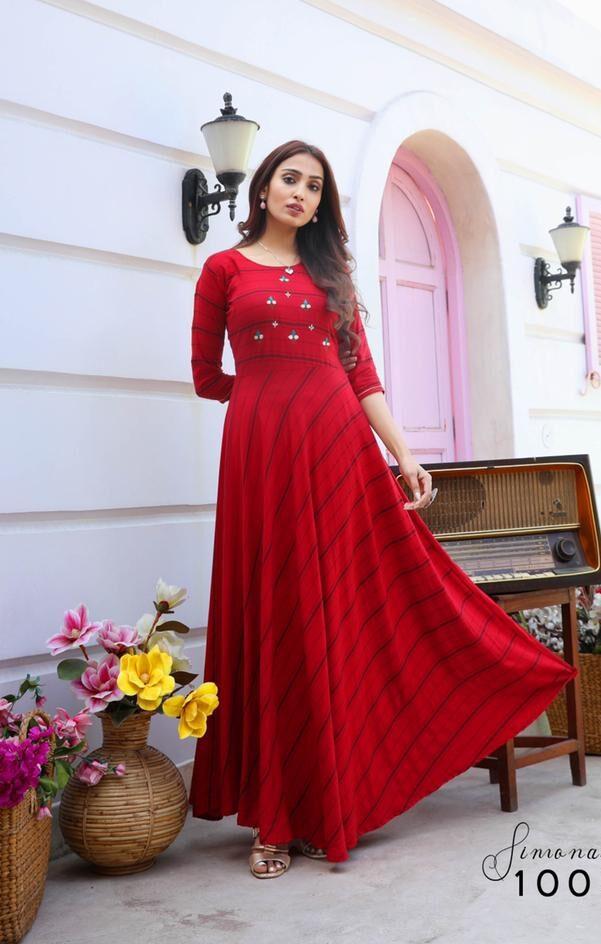 Best Trend Designer Red Color Cotton Anaarkali Long Kurti