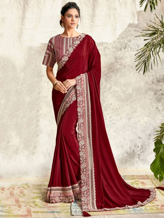 Best Trend Designer Red Color Fancy Georgette Saree With The Price.
