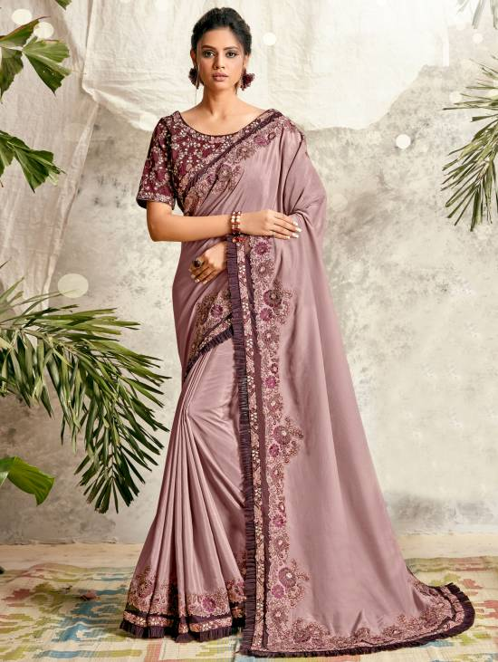 Best Trend Embroidery Work fancy Silk Saree With Cheap Price.
