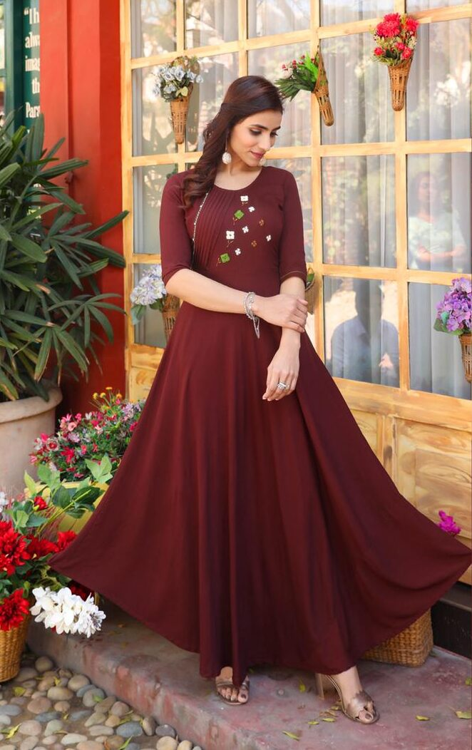 Best Trend Mode Maker Brown Color Design For Frock Suit.