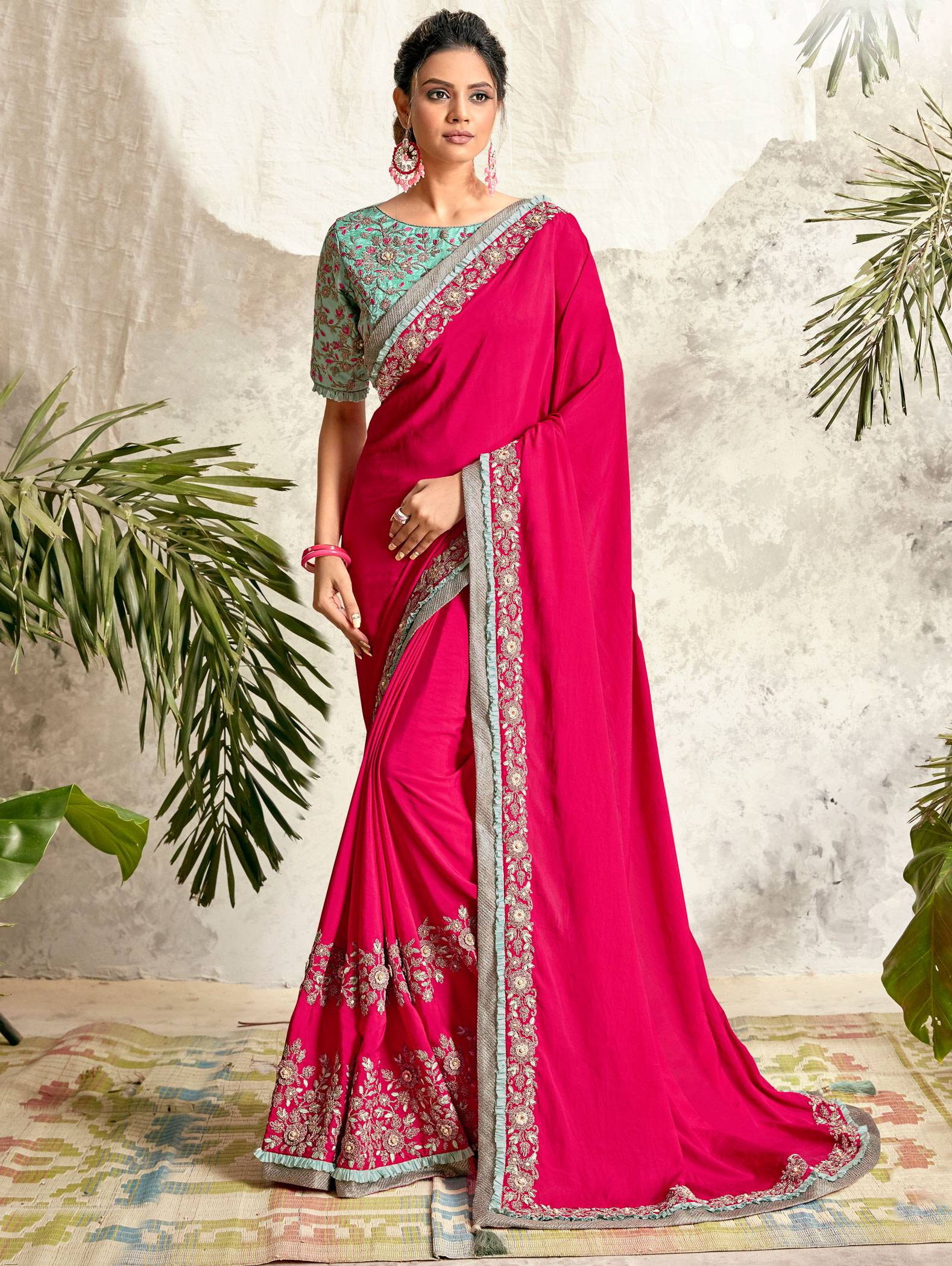 Best Trend Pink Color Bridal Saree For Reception.